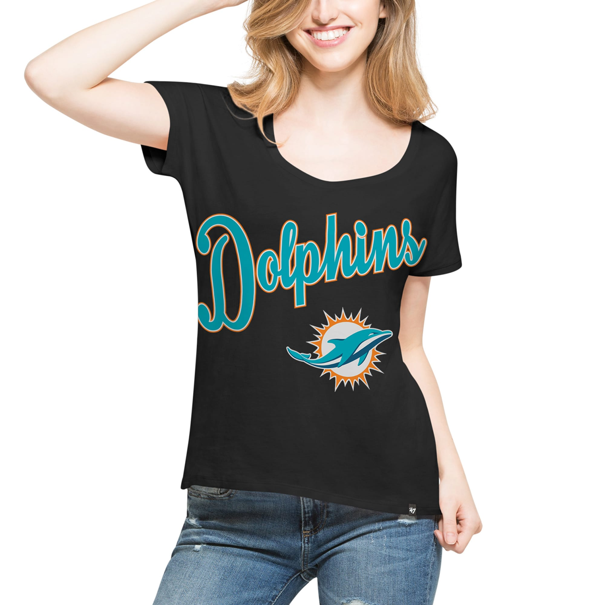 Miami Dolphins '47 Women's Flair Roundoff T-Shirt - Black