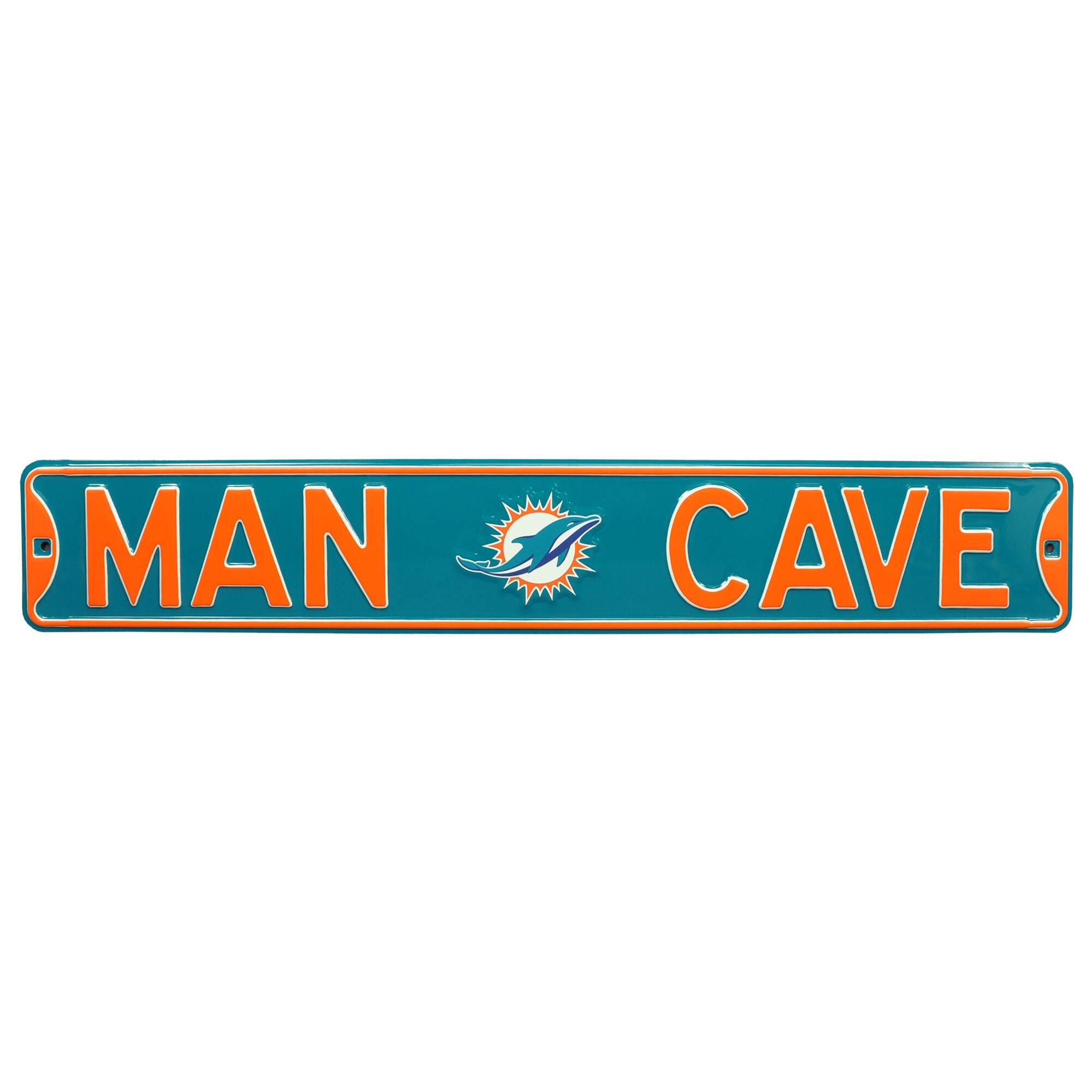 "Miami Dolphins 6"" x 36"" Man Cave Steel Street Sign - Aqua"