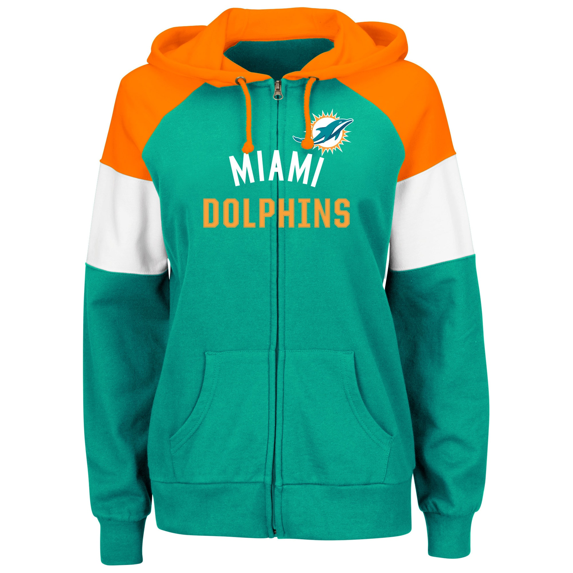 Miami Dolphins Majestic Women's Hot Route Full-Zip Hoodie - Aqua