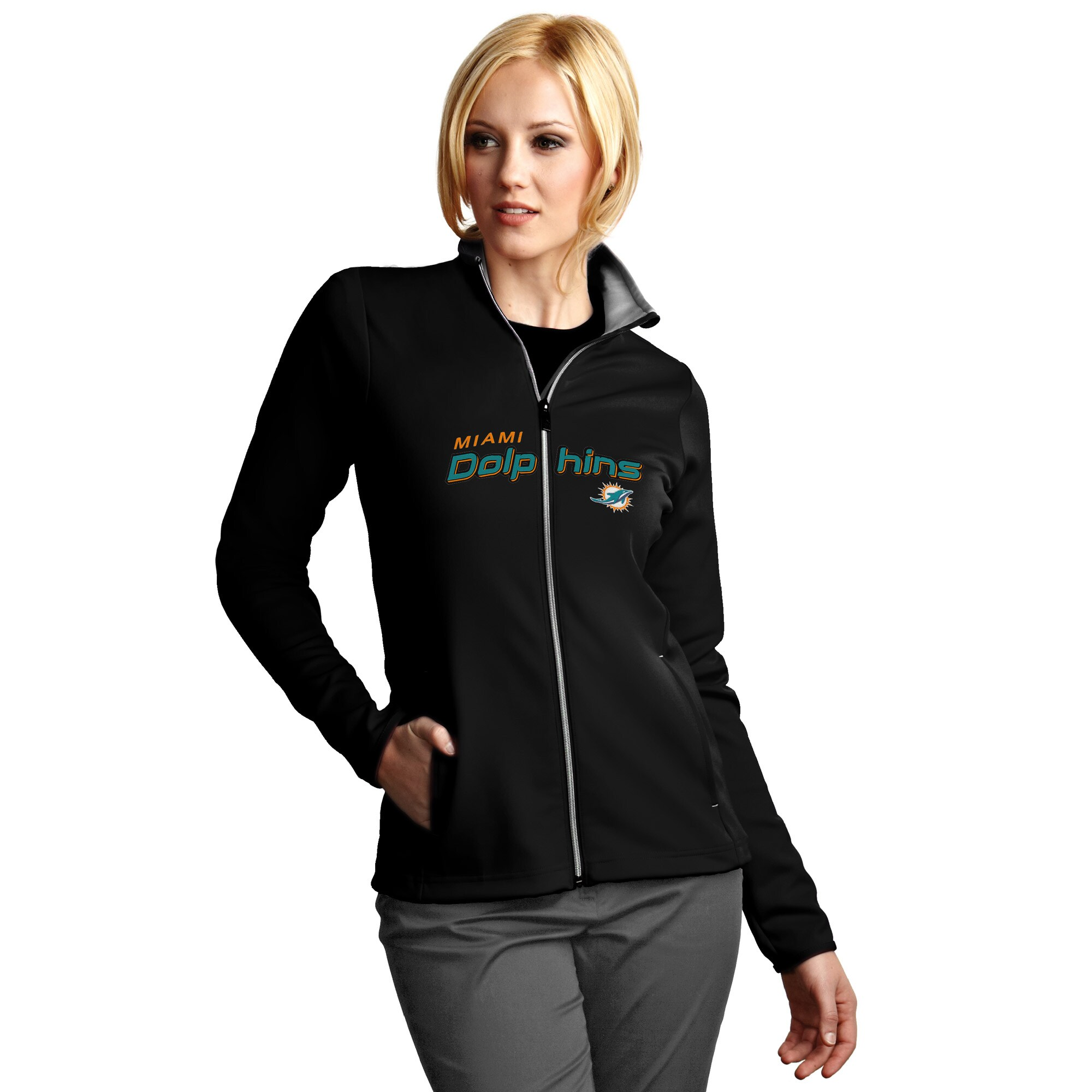 Miami Dolphins Antigua Women's Leader Full Chest Graphic Desert Dry Full-Zip Jacket - Black