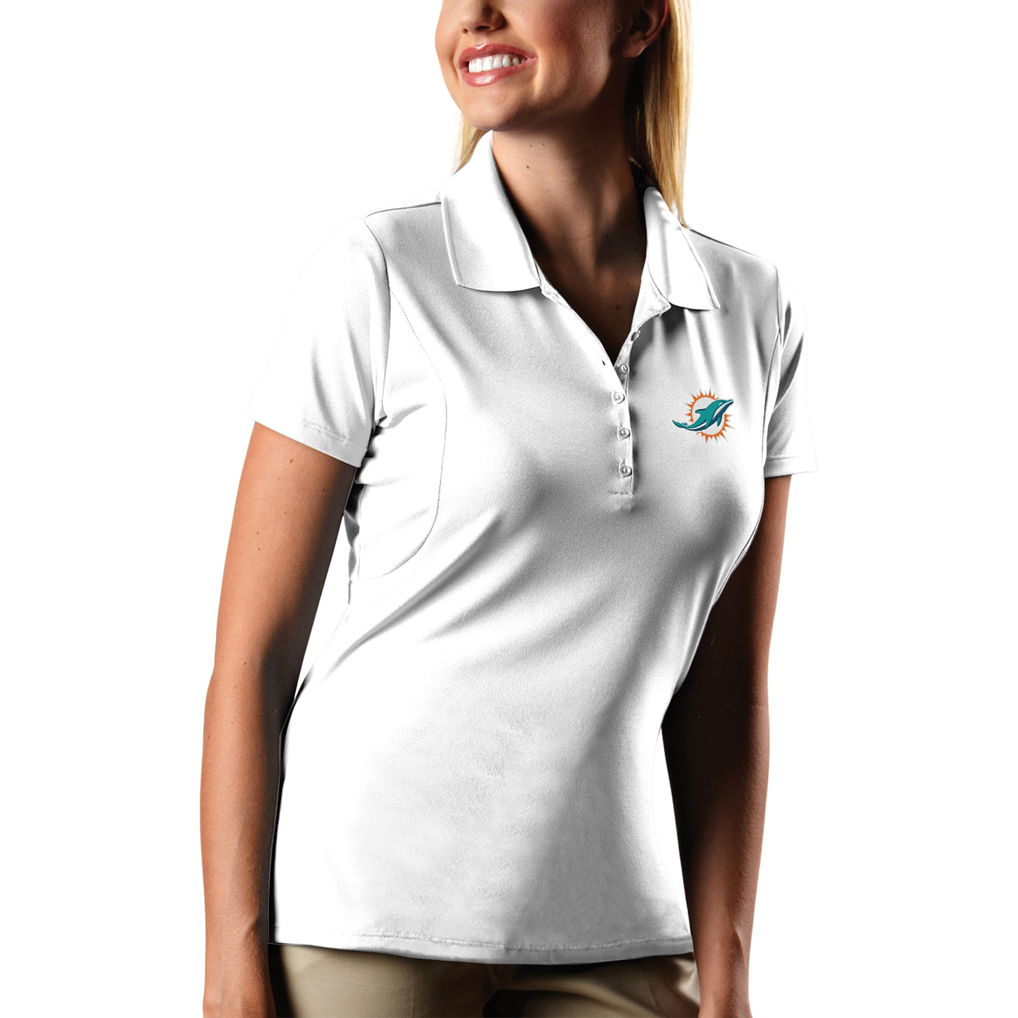 Miami Dolphins Antigua Women's Pique Xtra-Lite Polo - White