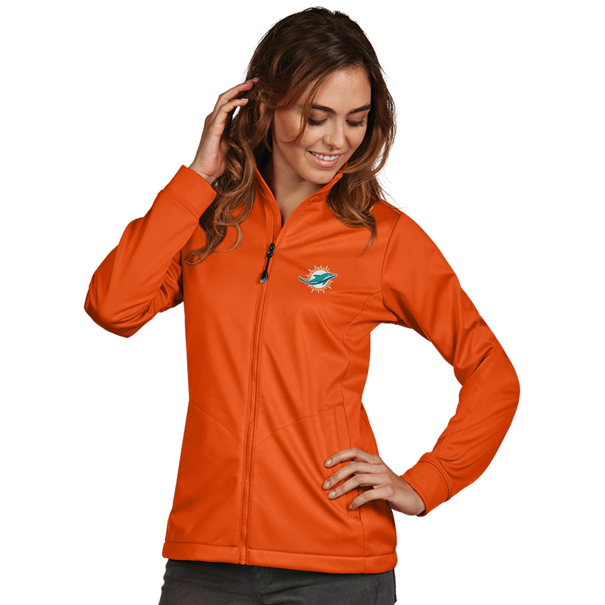 Miami Dolphins Women's Antigua Full-Zip Golf Jacket - Orange