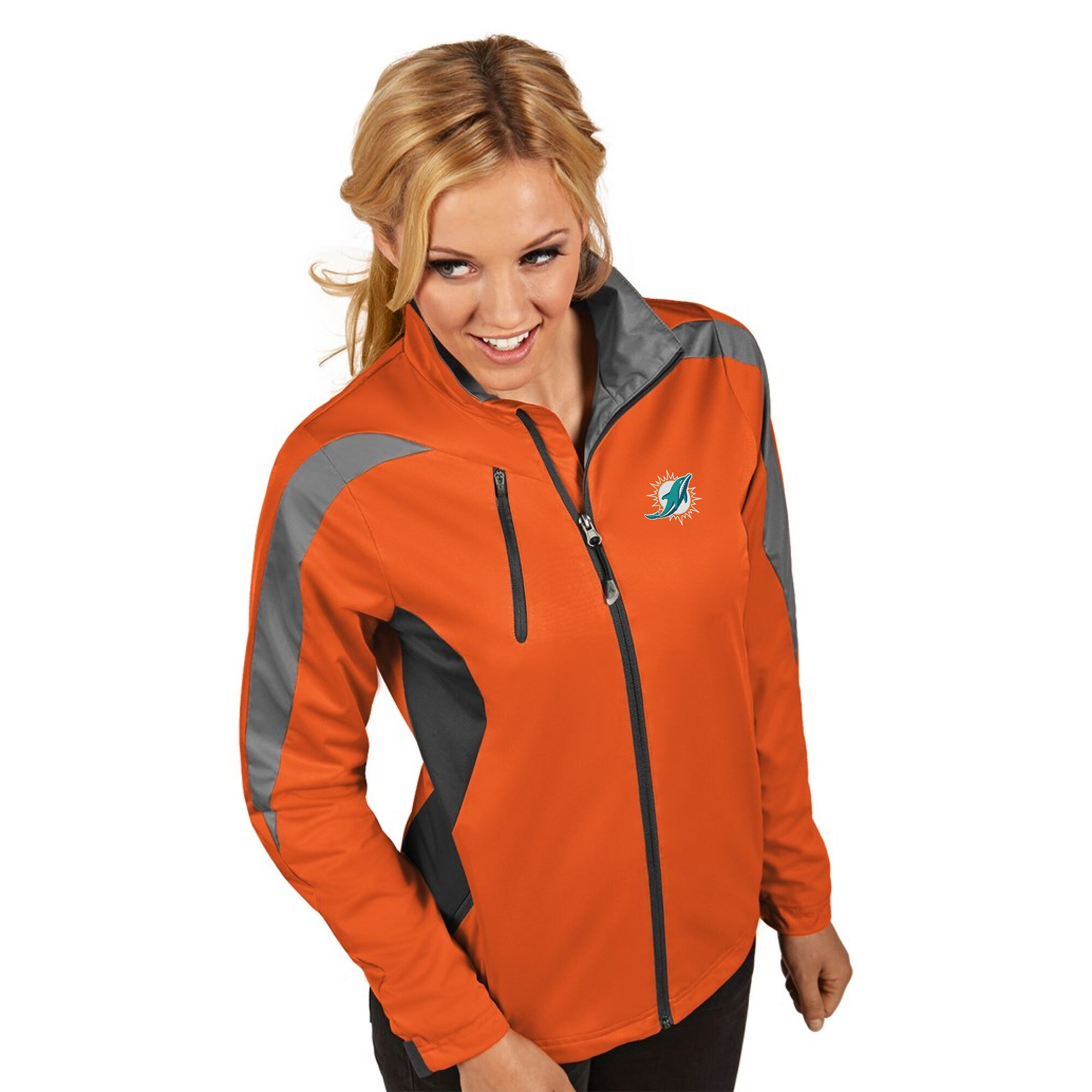 Miami Dolphins Women's Antigua Discover Full-Zip Jacket - Orange