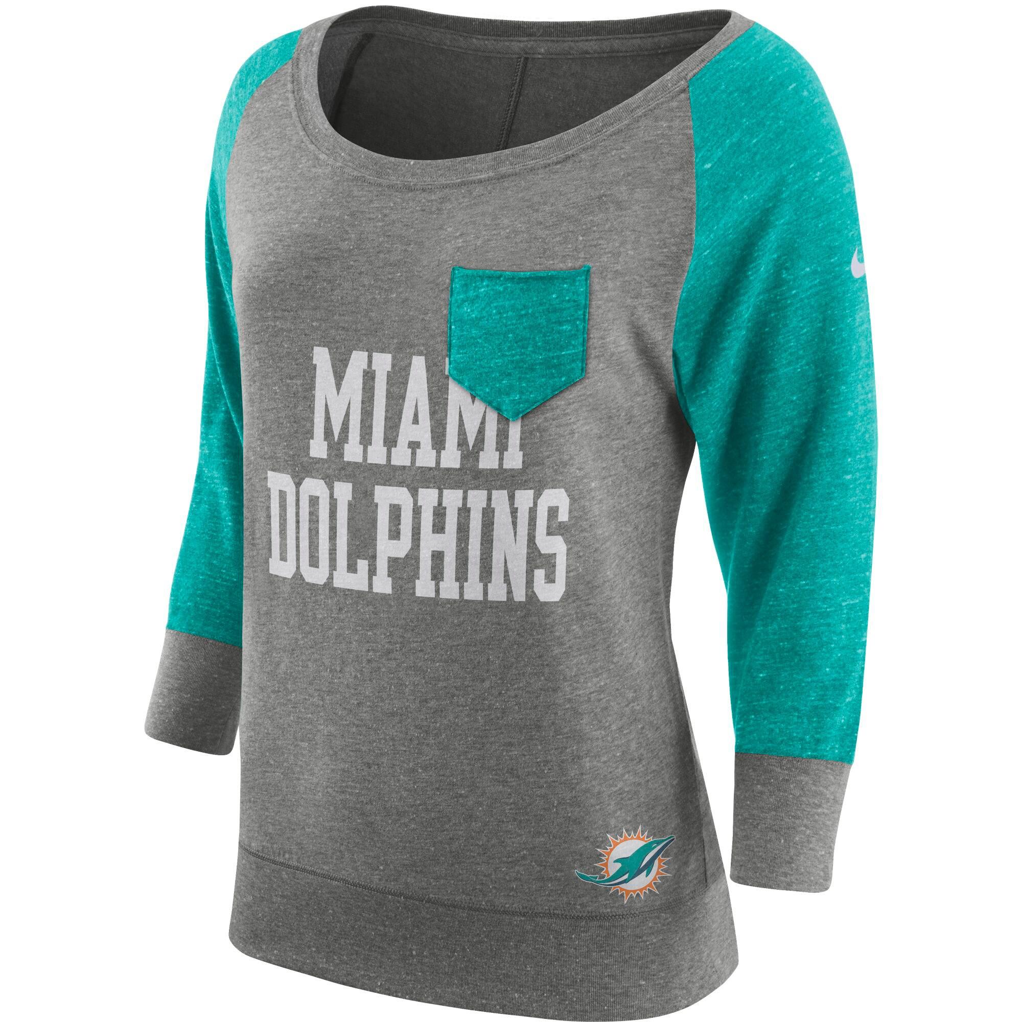 Miami Dolphins Nike Women's Tailgate Vintage Raglan 3/4-Sleeve T-Shirt - Heathered Gray/Aqua