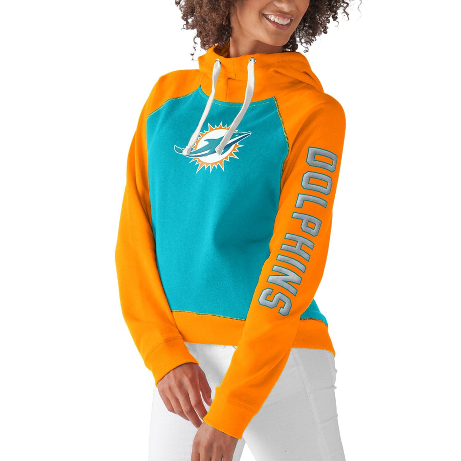 Miami Dolphins G-III 4Her by Carl Banks Women's Scrimmage Pullover Hoodie - Aqua