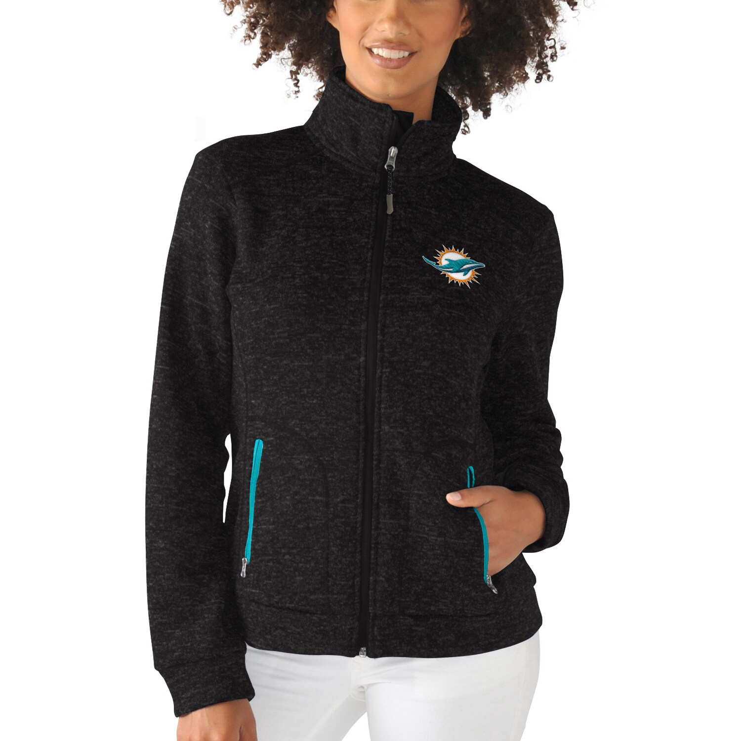 Miami Dolphins G-III 4Her by Carl Banks Women's Checkpoint Full Zip Jacket - Black