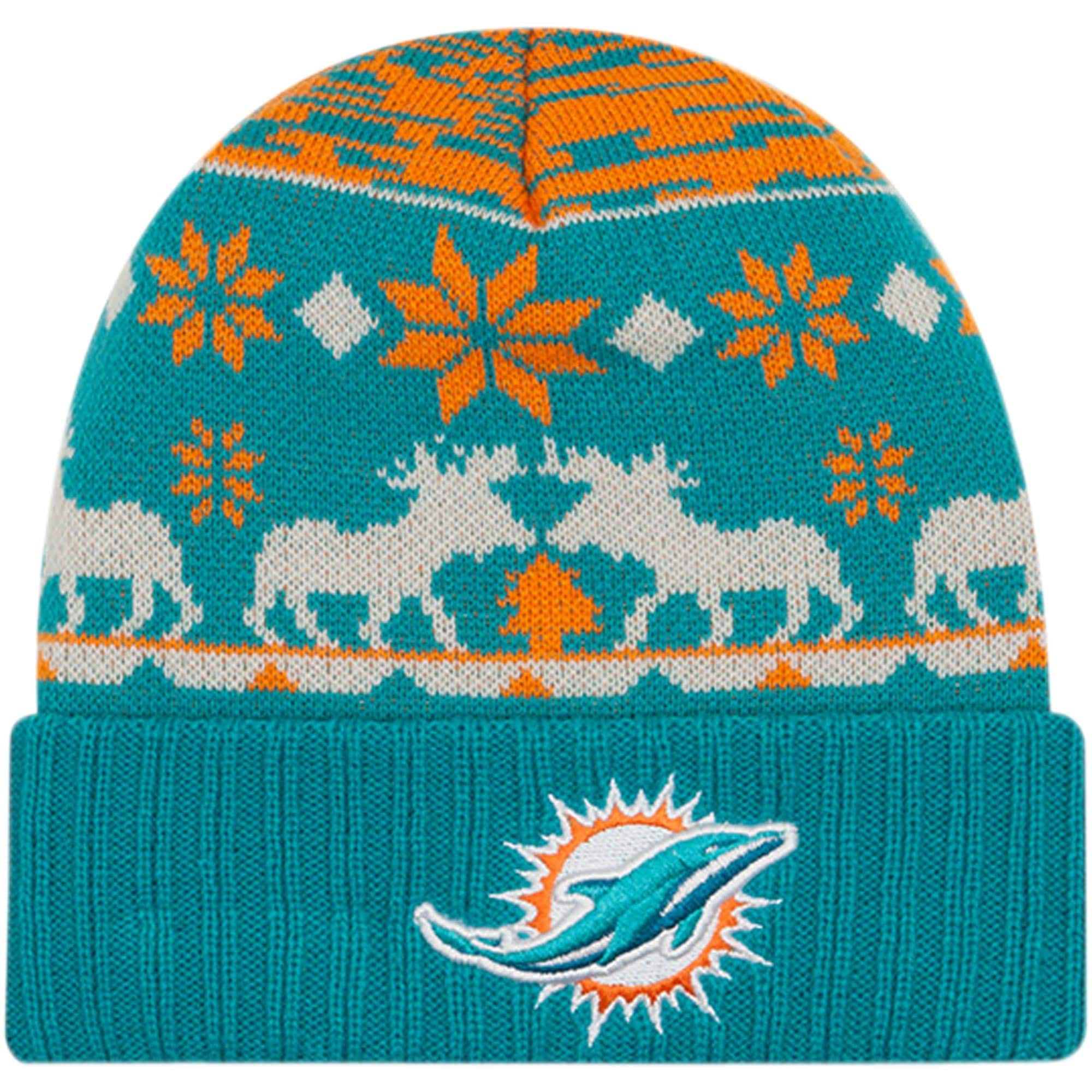Miami Dolphins New Era Mooser Cuffed Knit Hat - Aqua