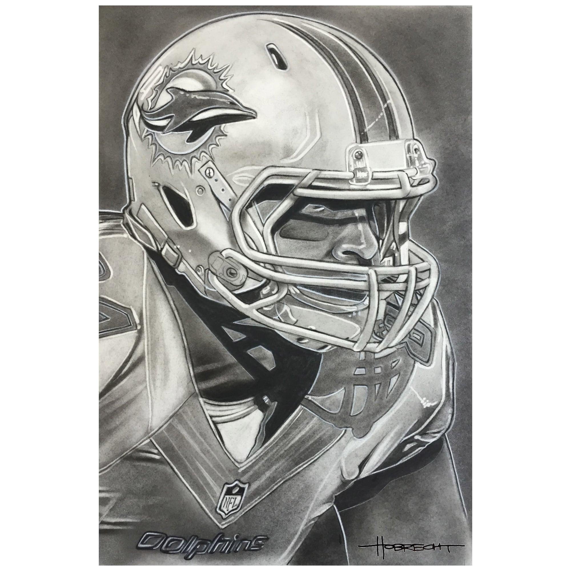 "Miami Dolphins Deacon Jones Foundation 30"" x 20"" Helmet Series Fine Art Canvas"