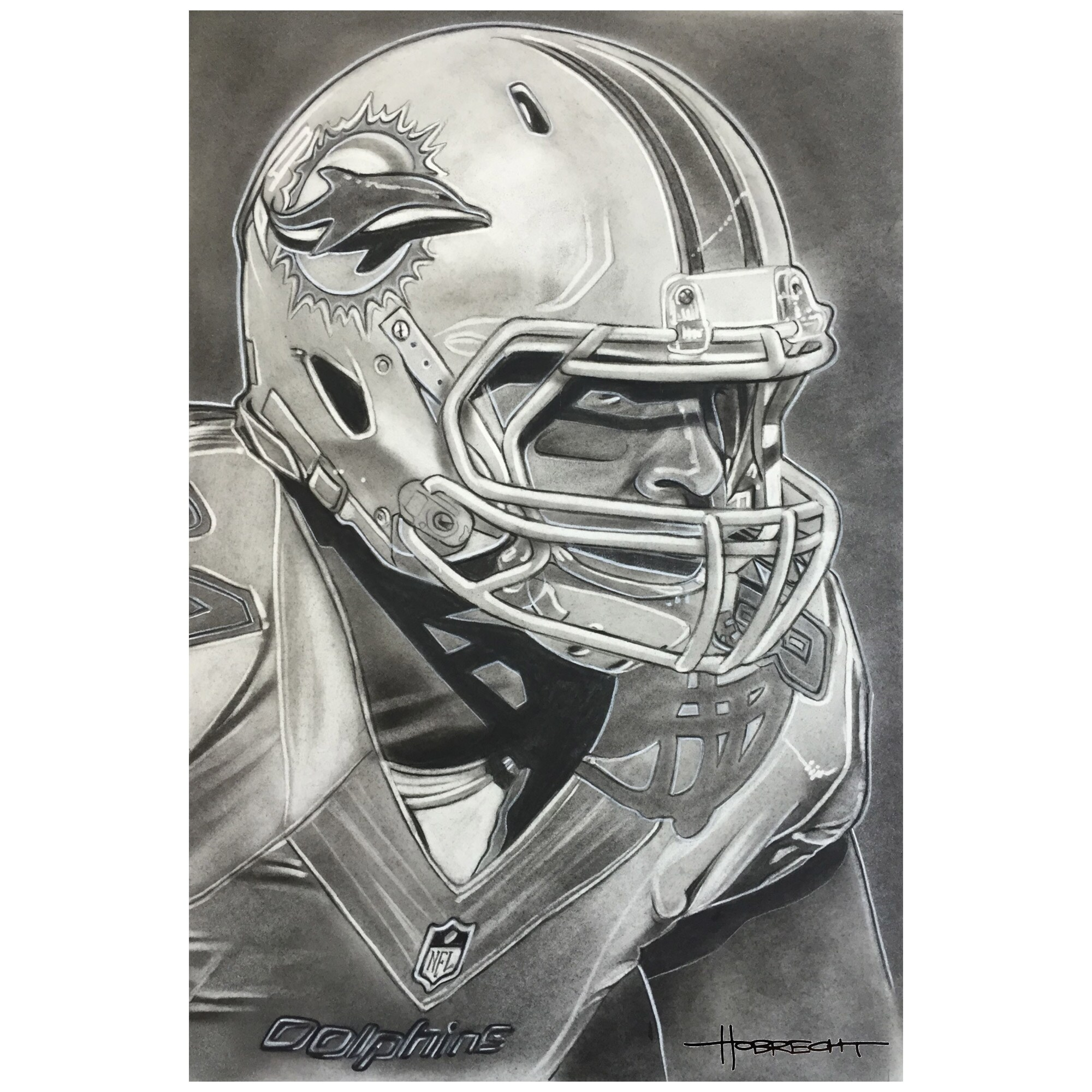 "Miami Dolphins Deacon Jones Foundation 14"" x 9"" Helmet Series Fine Art Giclée Canvas"