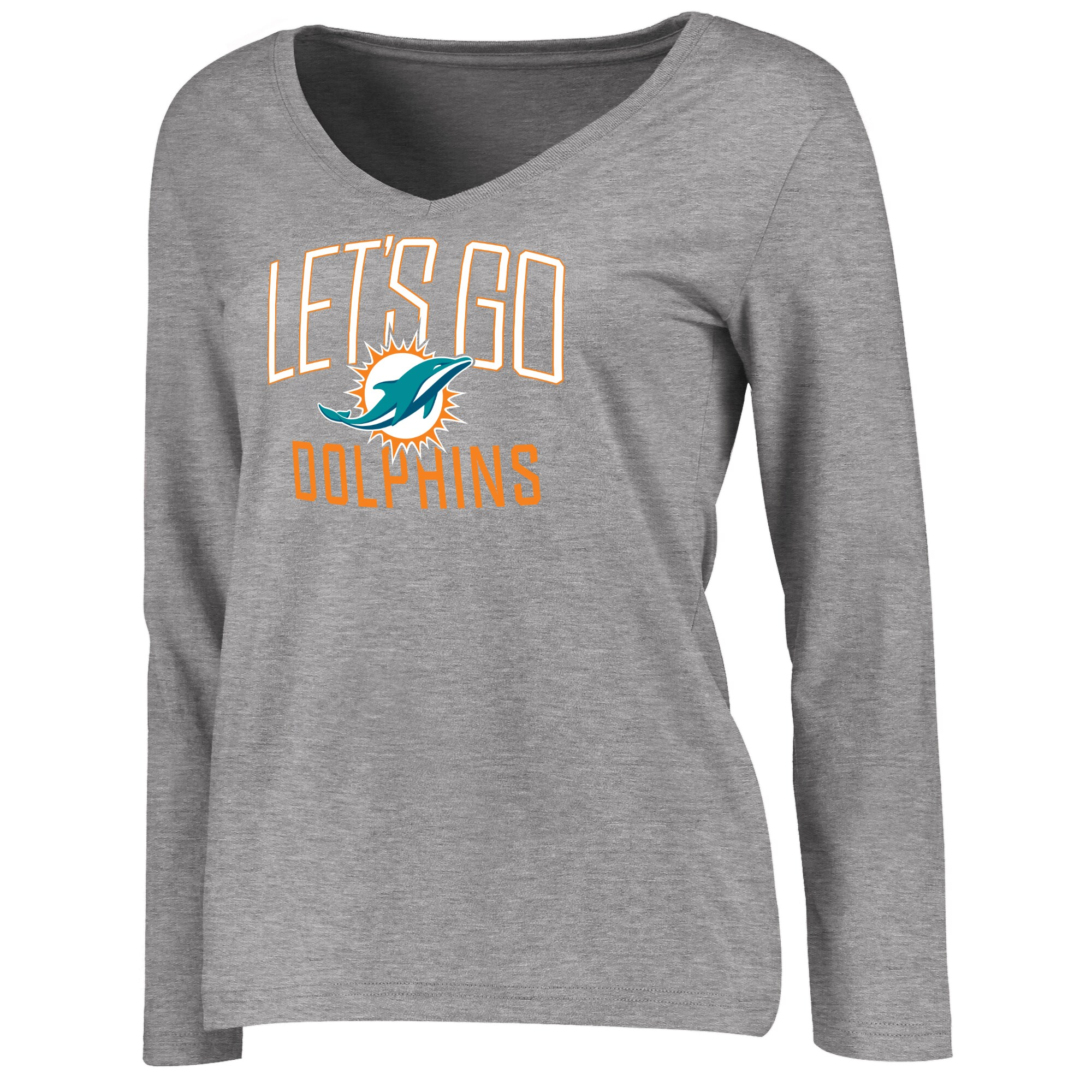 Miami Dolphins NFL Pro Line Women's Team Chant Long Sleeve V-Neck T-Shirt - Heathered Gray