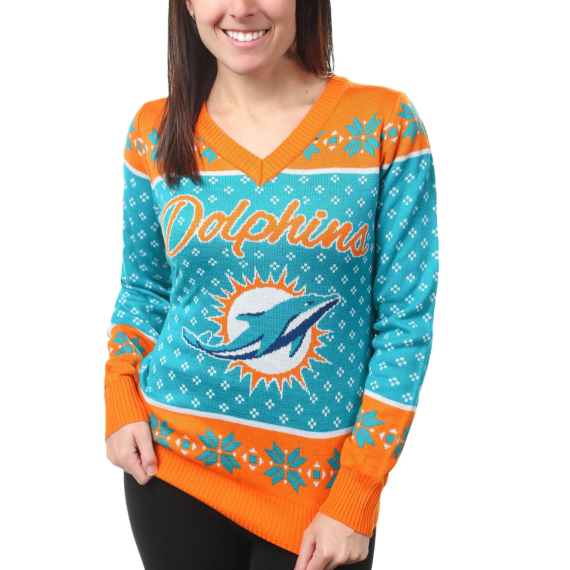 Miami Dolphins Klew Women's Big Logo V-Neck Sweater - Aqua
