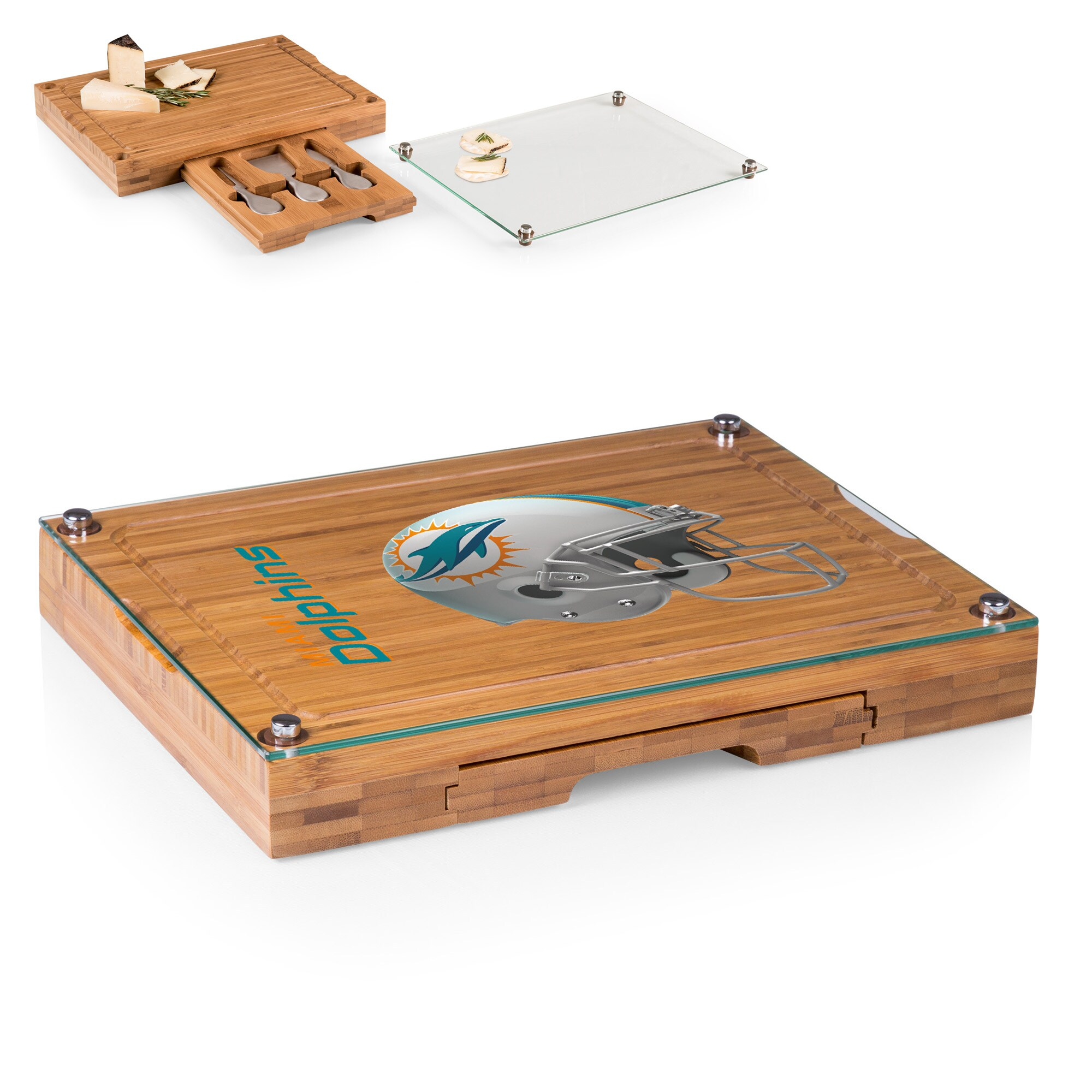 Miami Dolphins Concerto Cheese Board with Serving Stage and Tools