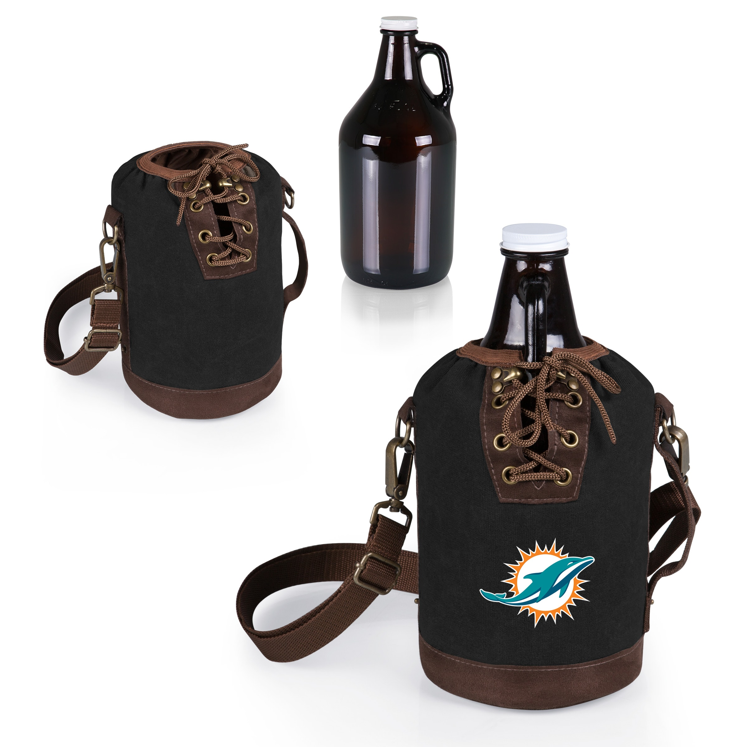 Miami Dolphins Growler Tote with 64oz. Growler - Black