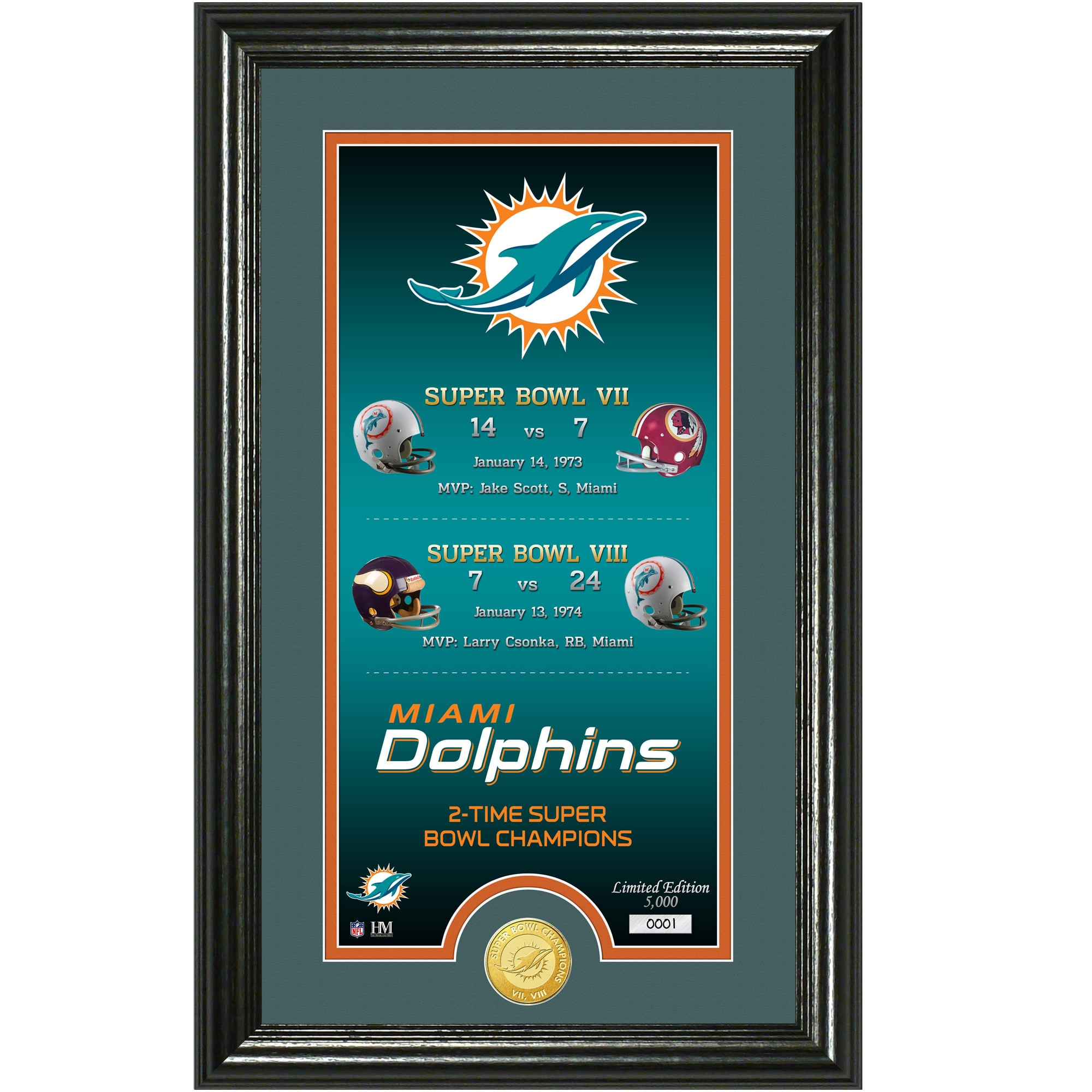 "Miami Dolphins Highland Mint Legacy 14"" x 21"" Photomint"
