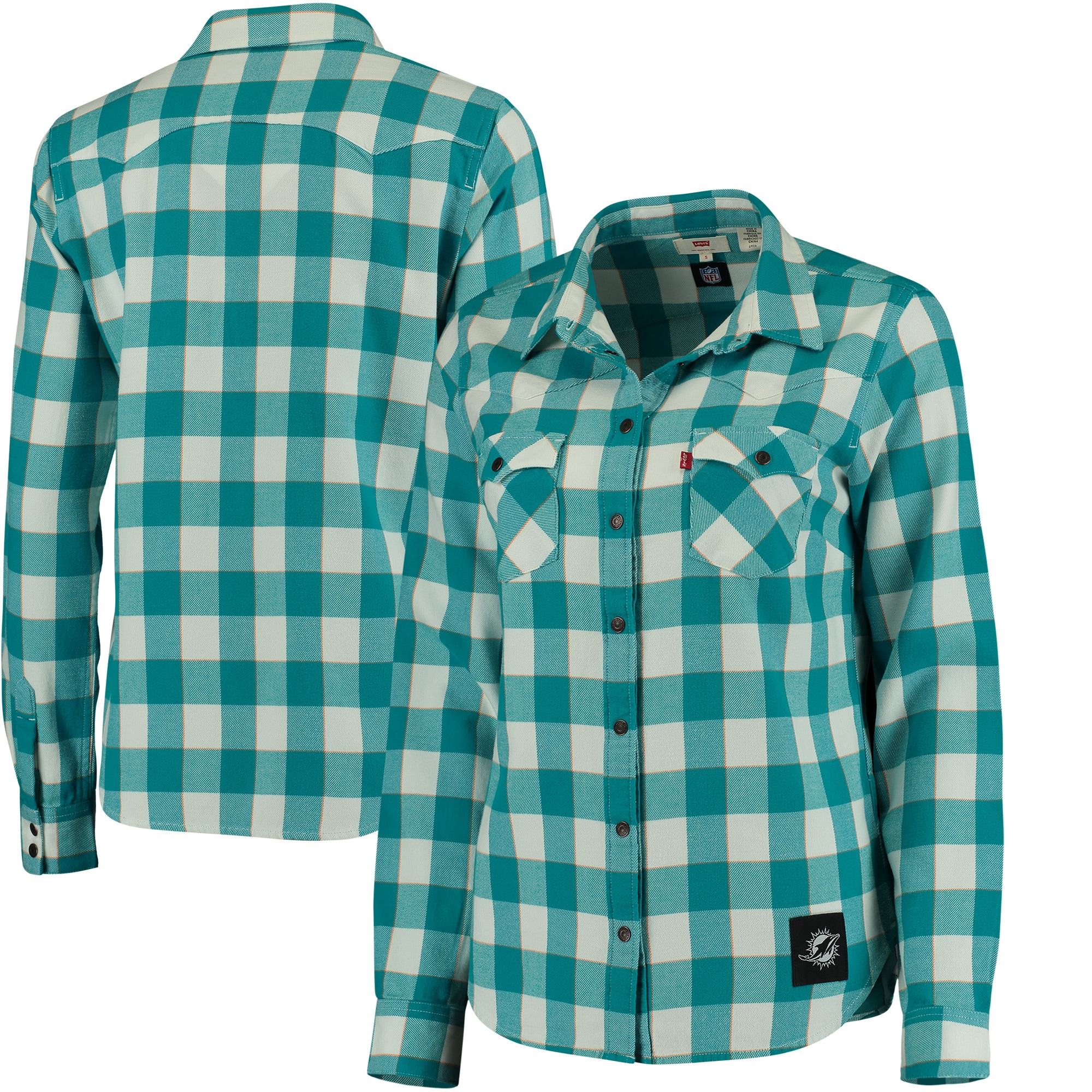 Miami Dolphins Levi's Women's Barstow Western Button-Up Long Sleeve Shirt - Aqua