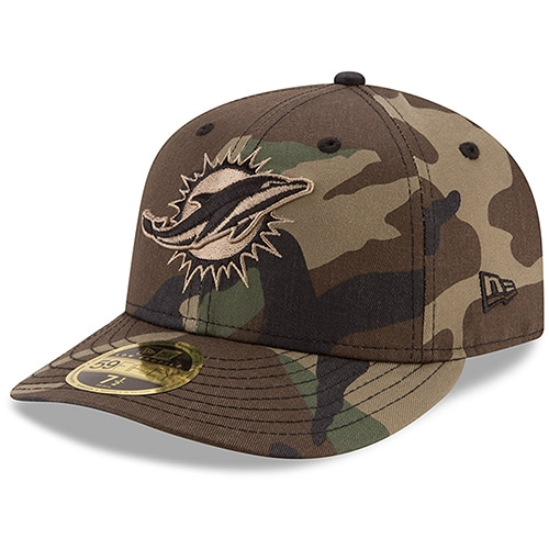 Miami Dolphins New Era Woodland Low Profile 59FIFTY Fitted Hat - Camo