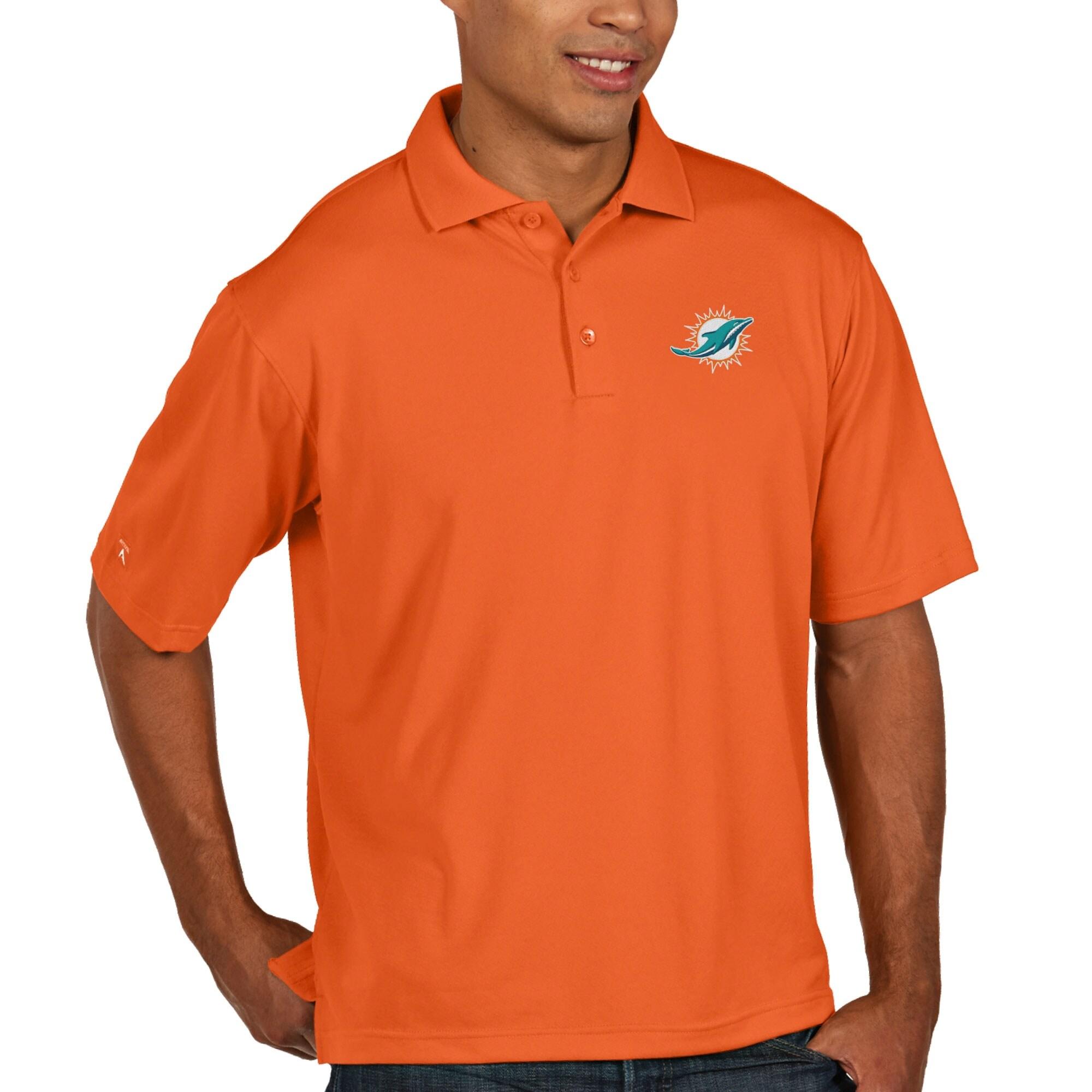 Miami Dolphins Antigua Pique Xtra-Lite Polo - Orange
