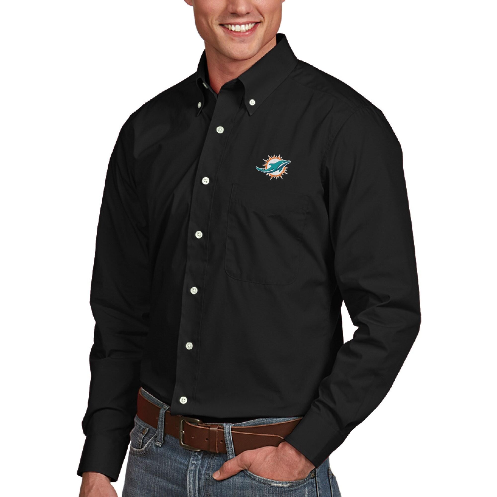 Miami Dolphins Antigua Dynasty Woven Long Sleeve Shirt - Black
