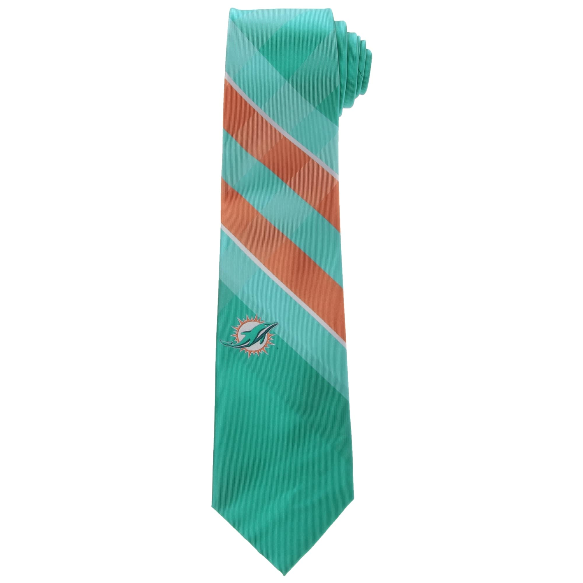 Miami Dolphins Woven Poly Grid Tie