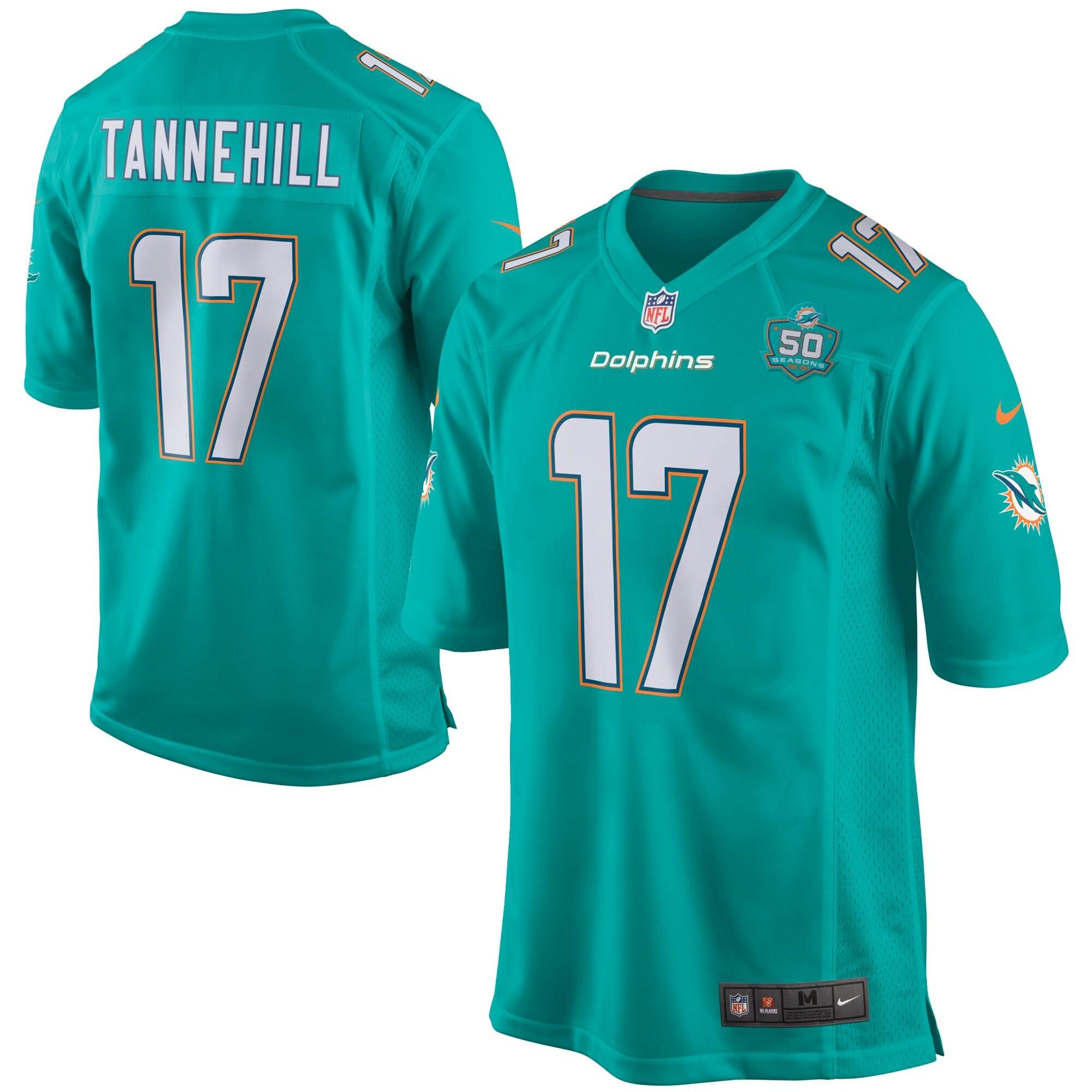 Ryan Tannehill Miami Dolphins Nike Team Game 2015 NFL Patch Jersey - Aqua