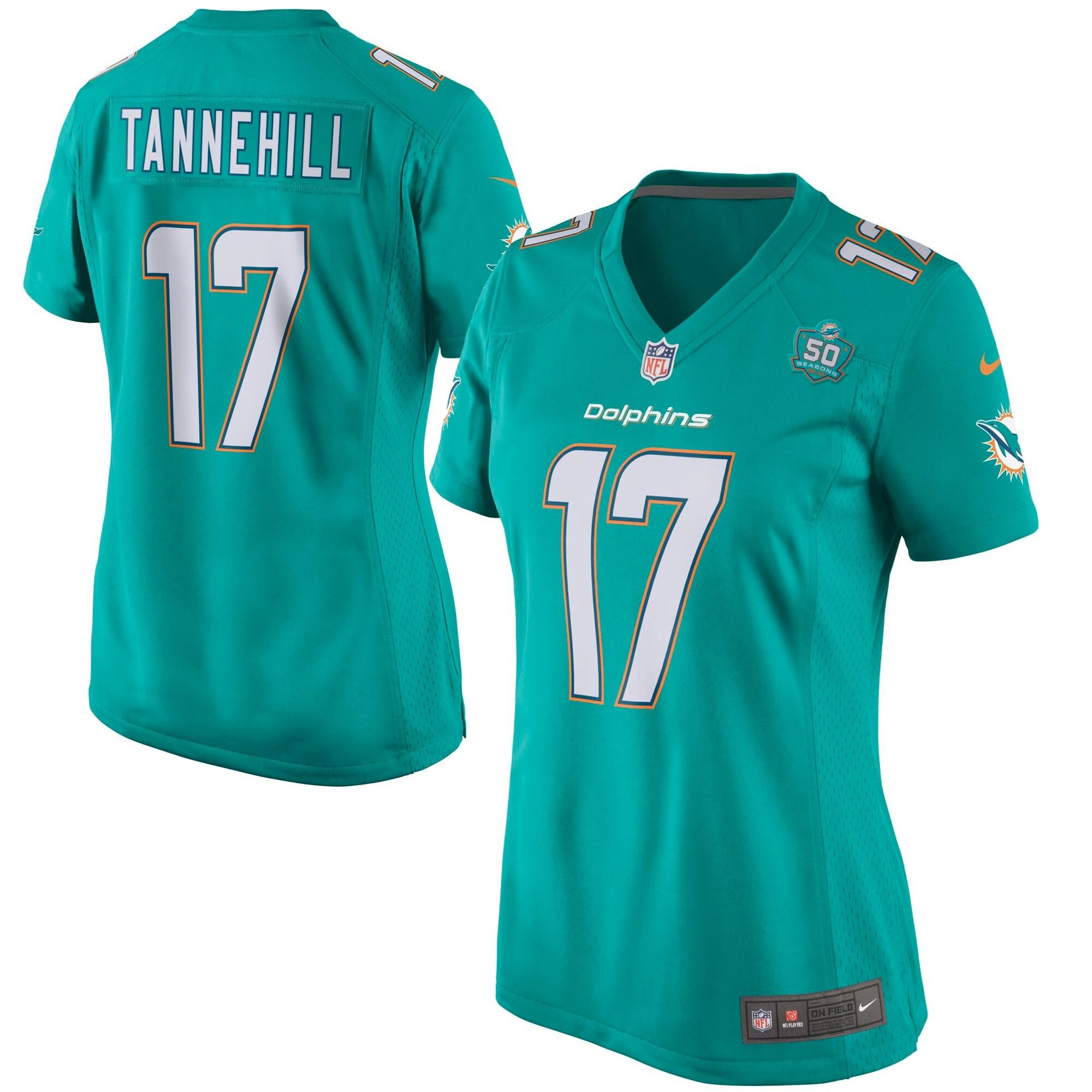 Ryan Tannehill Miami Dolphins Nike Women's Team Game 2015 NFL Patch Jersey - Aqua
