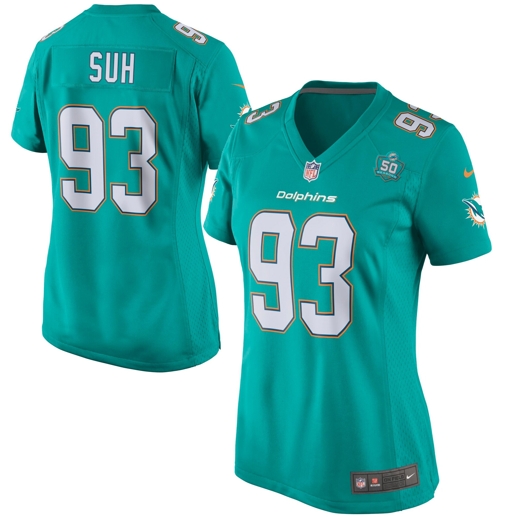 Ndamukong Suh Miami Dolphins Nike Women's Team Game 2015 NFL Patch Jersey - Aqua