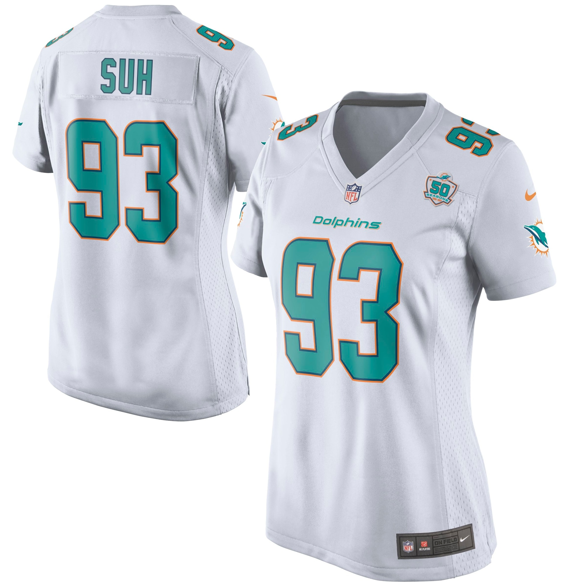 Ndamukong Suh Miami Dolphins Nike Women's White Game 2015 NFL Patch Jersey - White