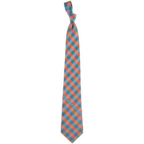 Miami Dolphins Woven Checkered Tie - Aqua/Orange