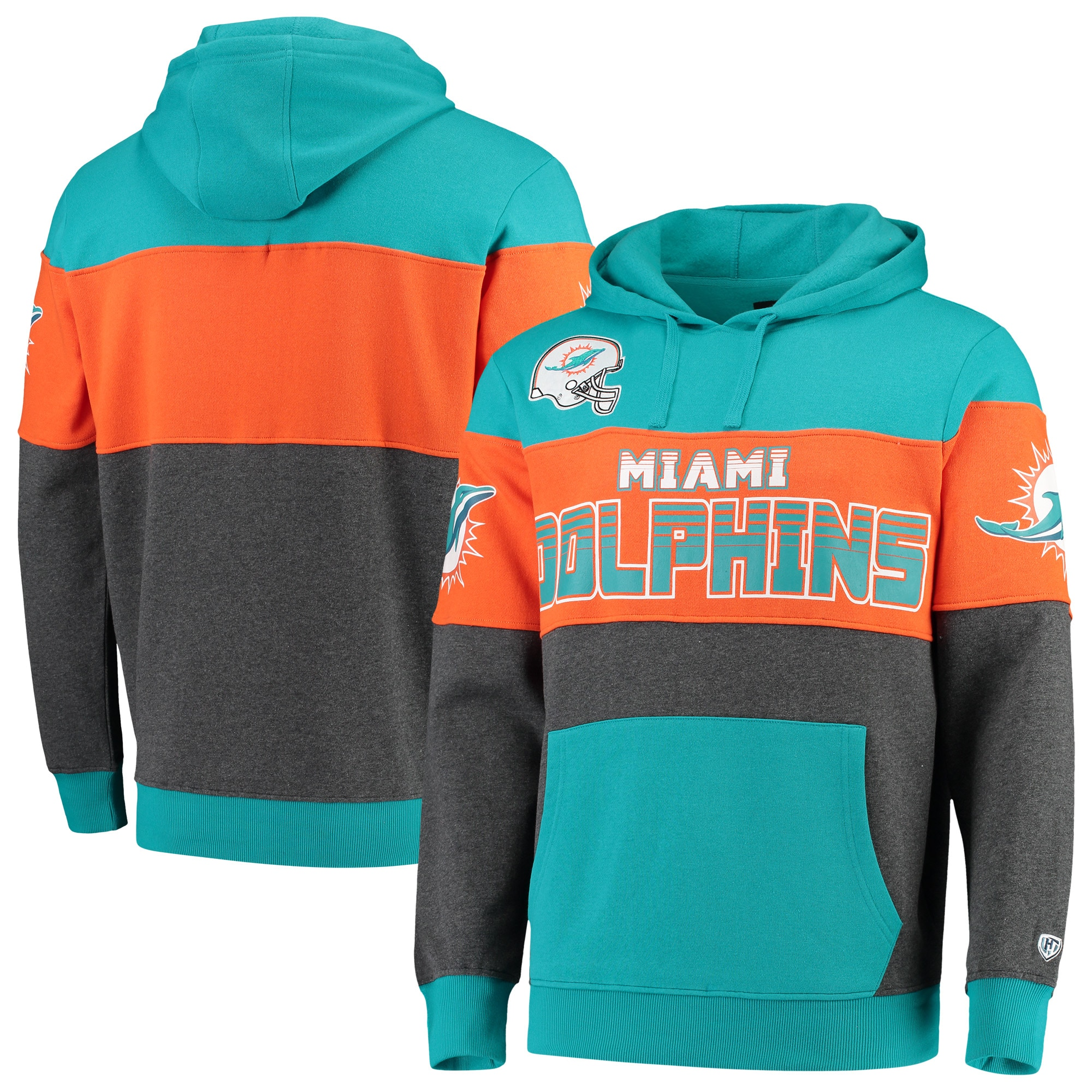 Miami Dolphins G-III Sports by Carl Banks Extreme Special Team Pullover Hoodie - Aqua/Charcoal
