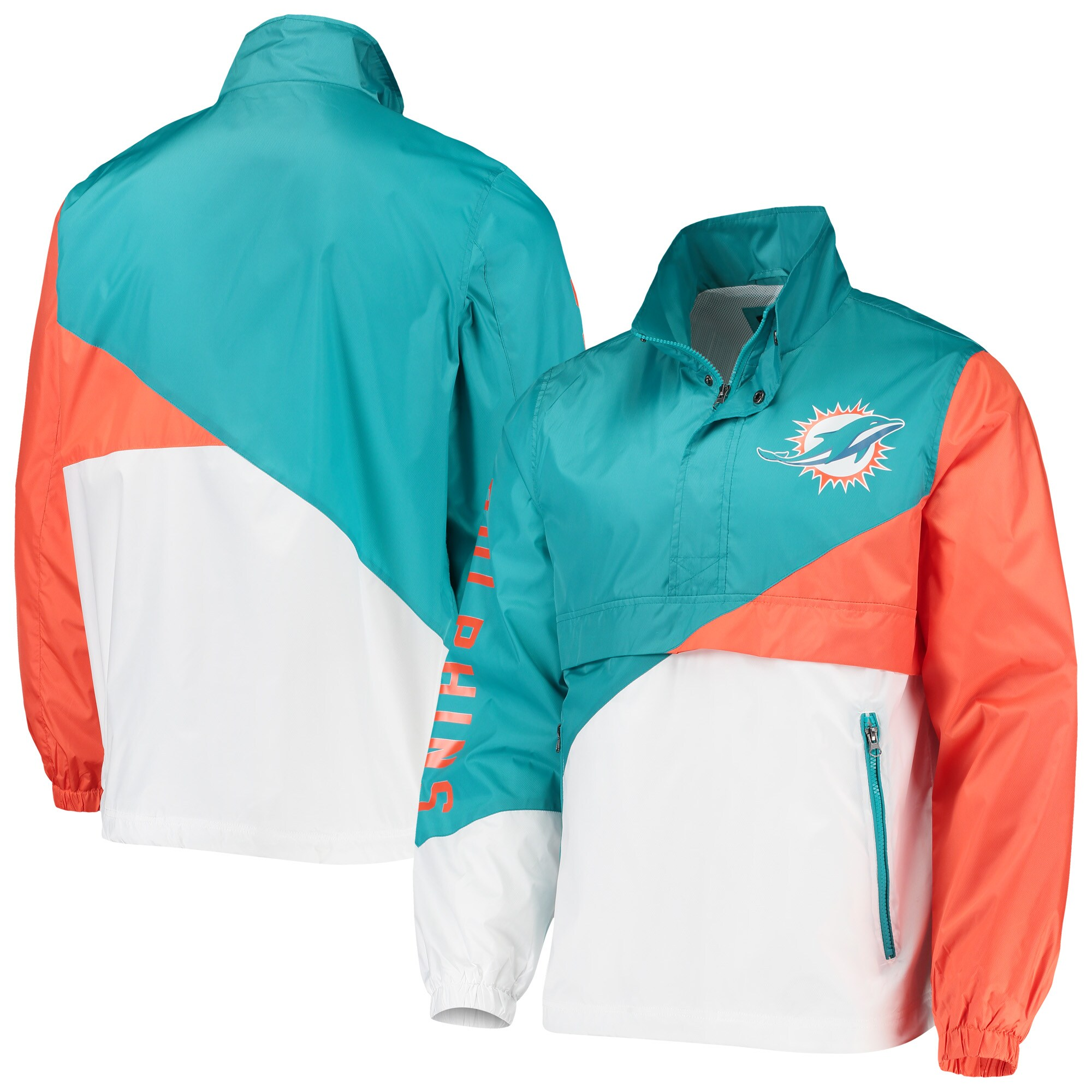 Miami Dolphins G-III Sports by Carl Banks Double Team Half-Zip Pullover Jacket - Aqua/White