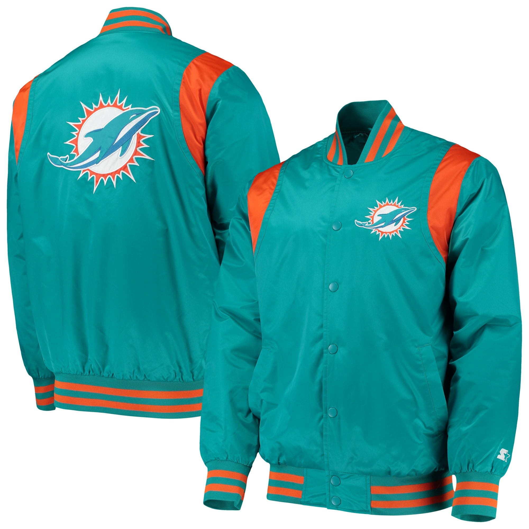 Miami Dolphins Starter Prime Time Twill Satin Varsity Full-Snap Jacket - Aqua/Orange