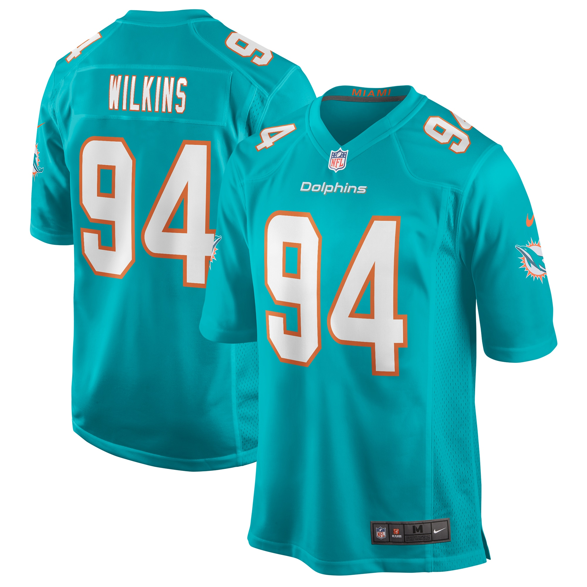 Christian Wilkins Miami Dolphins Nike Game Player Jersey - Aqua