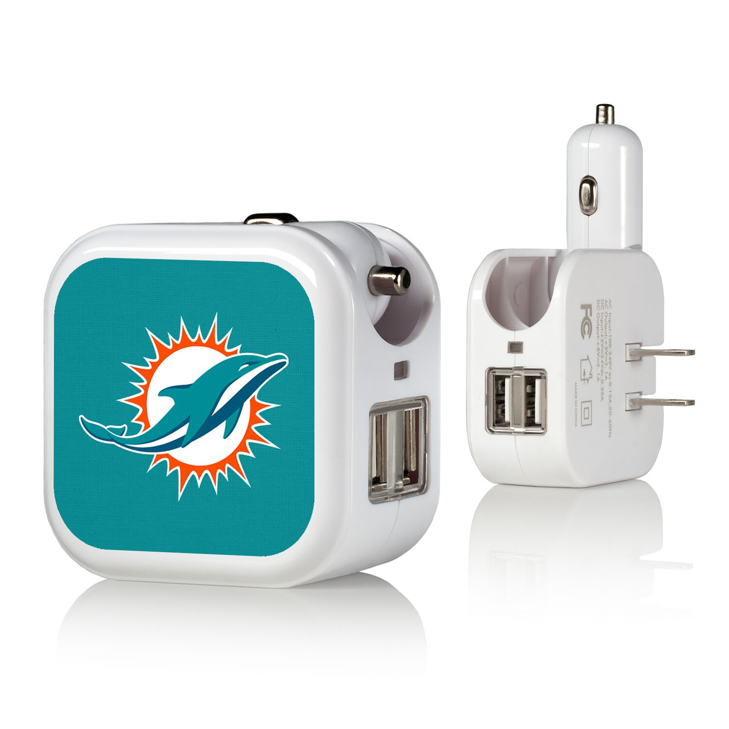 Miami Dolphins Solid Design USB Charger