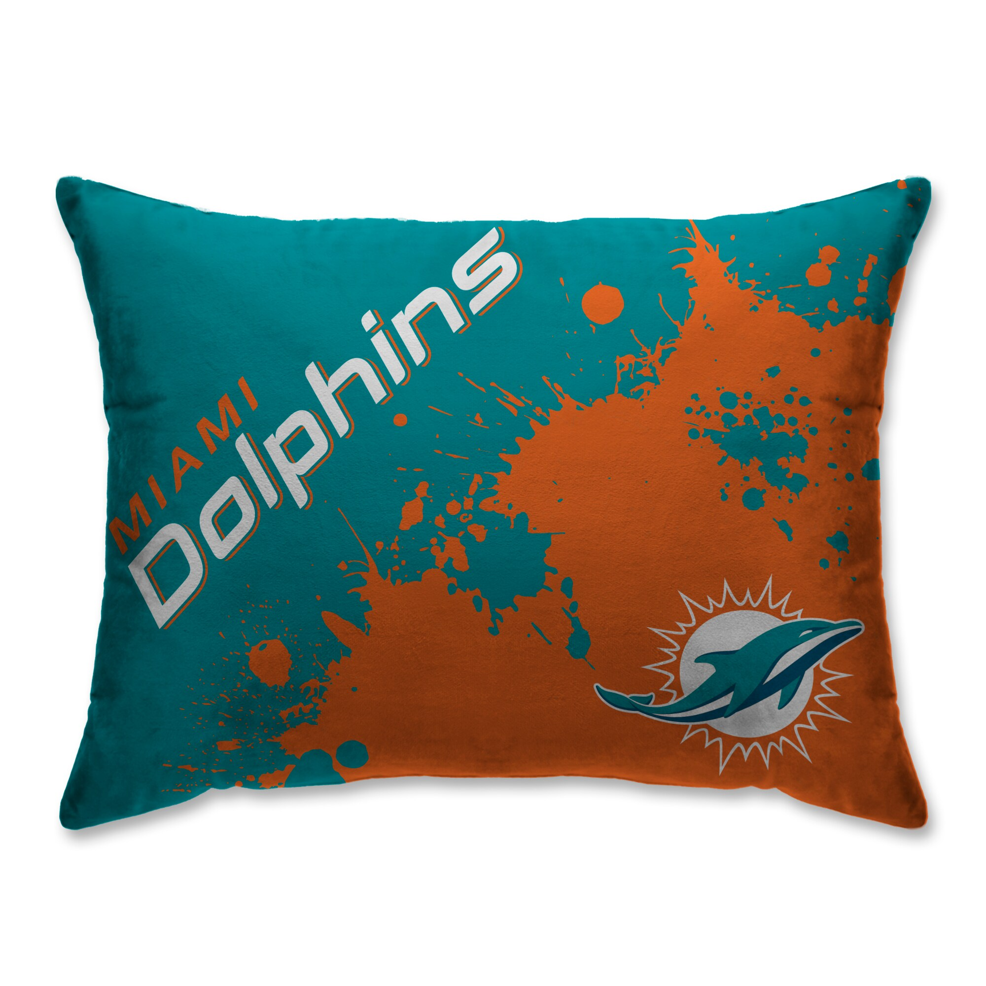 Miami Dolphins Splatter Plush Bed Pillow - Teal