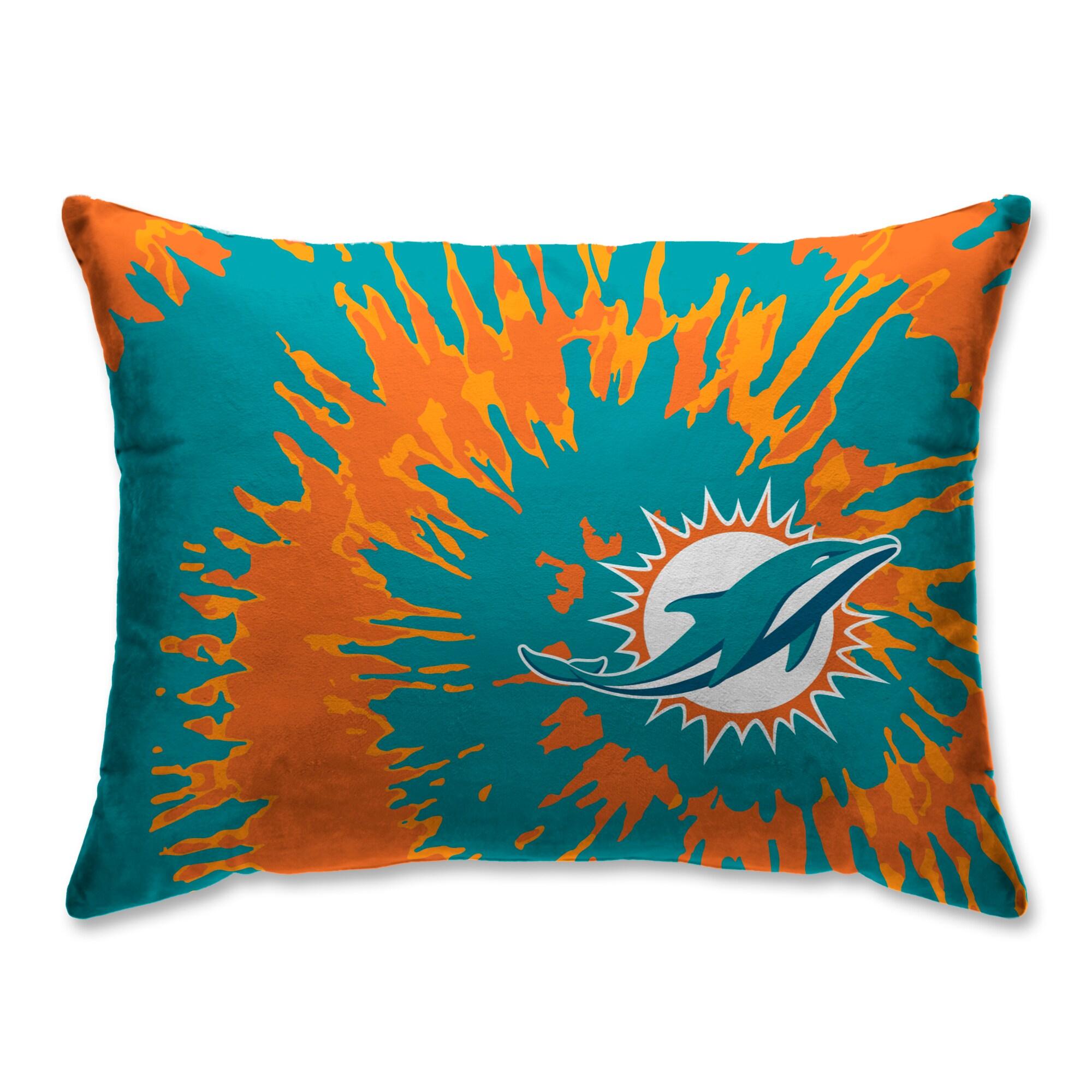Miami Dolphins Tie Dye Plush Bed Pillow - Teal