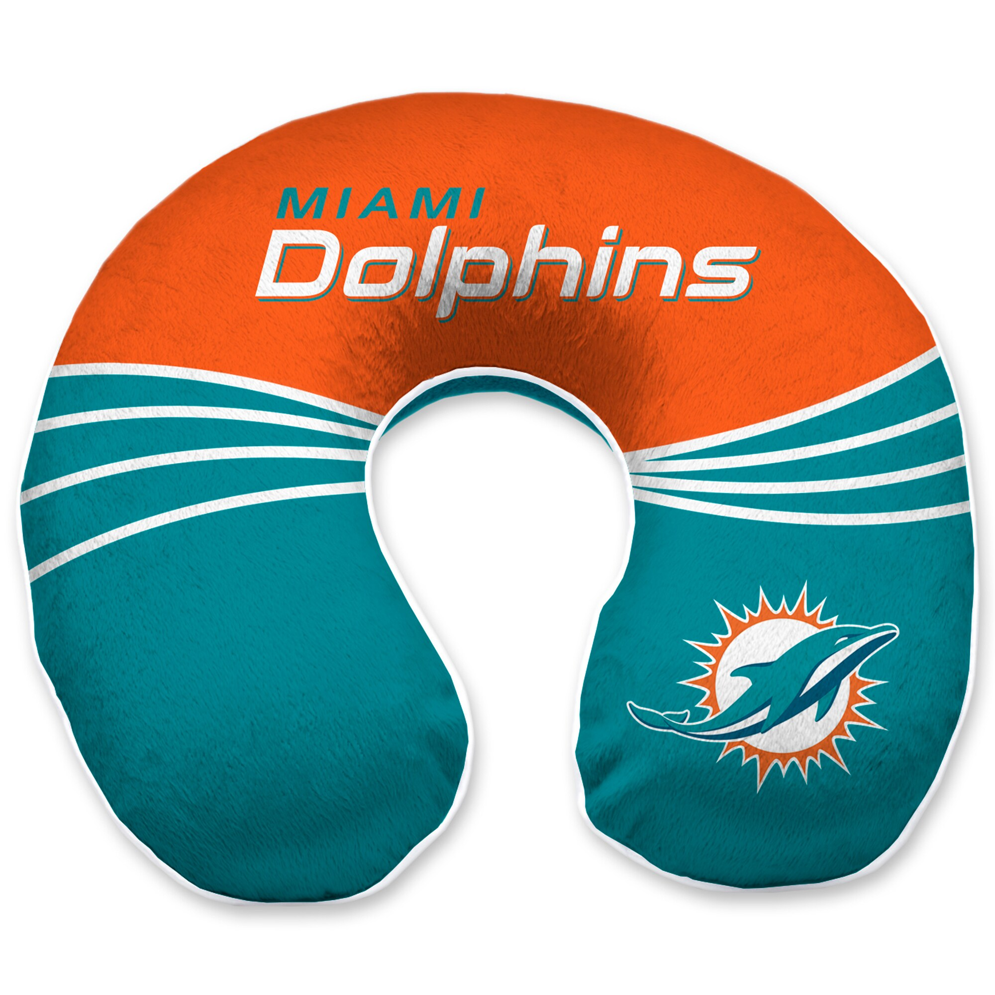 Miami Dolphins Wave Memory Foam U-Neck Travel Pillow - Teal