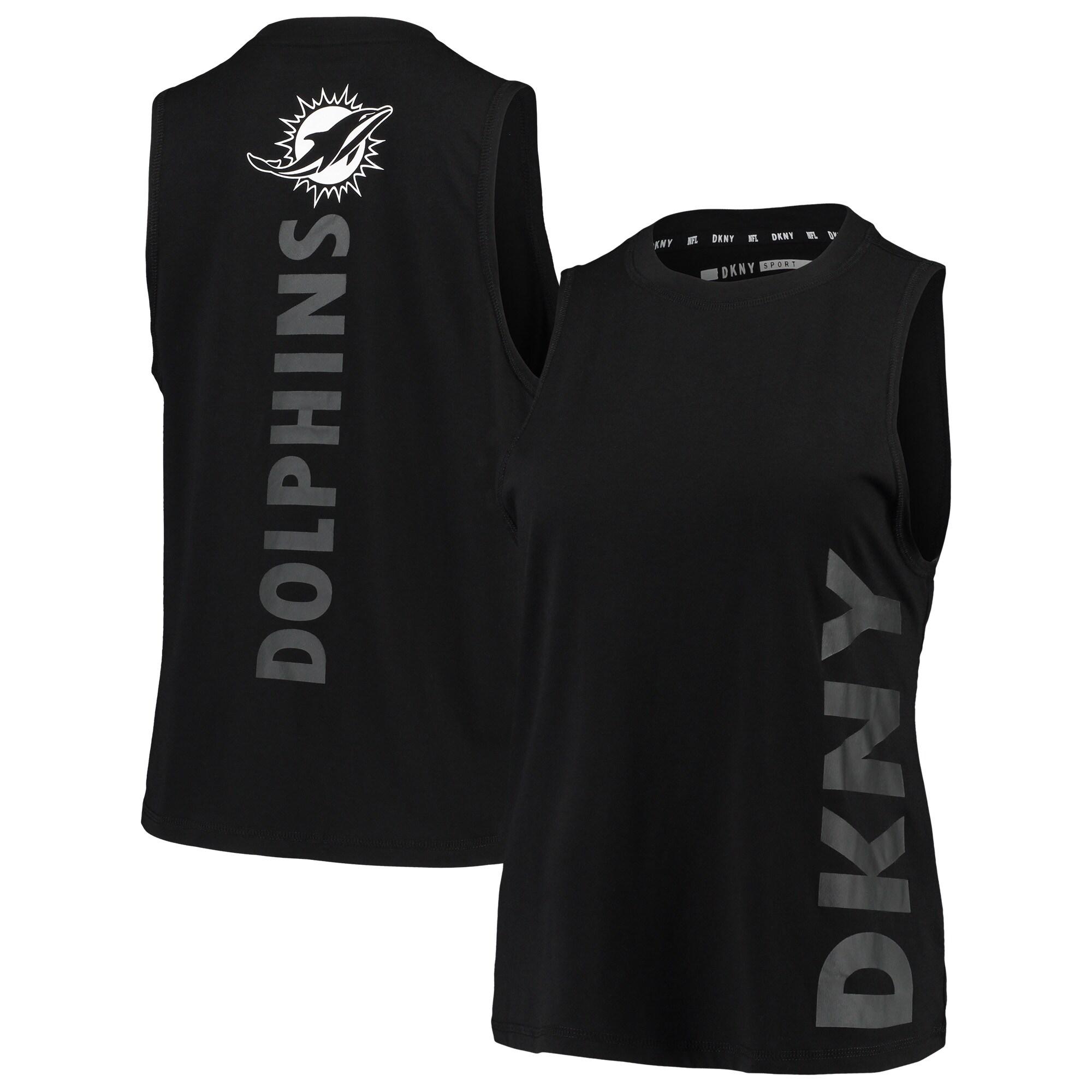 Miami Dolphins DKNY Sport Women's Olivia Tri-Blend Tank Top - Black