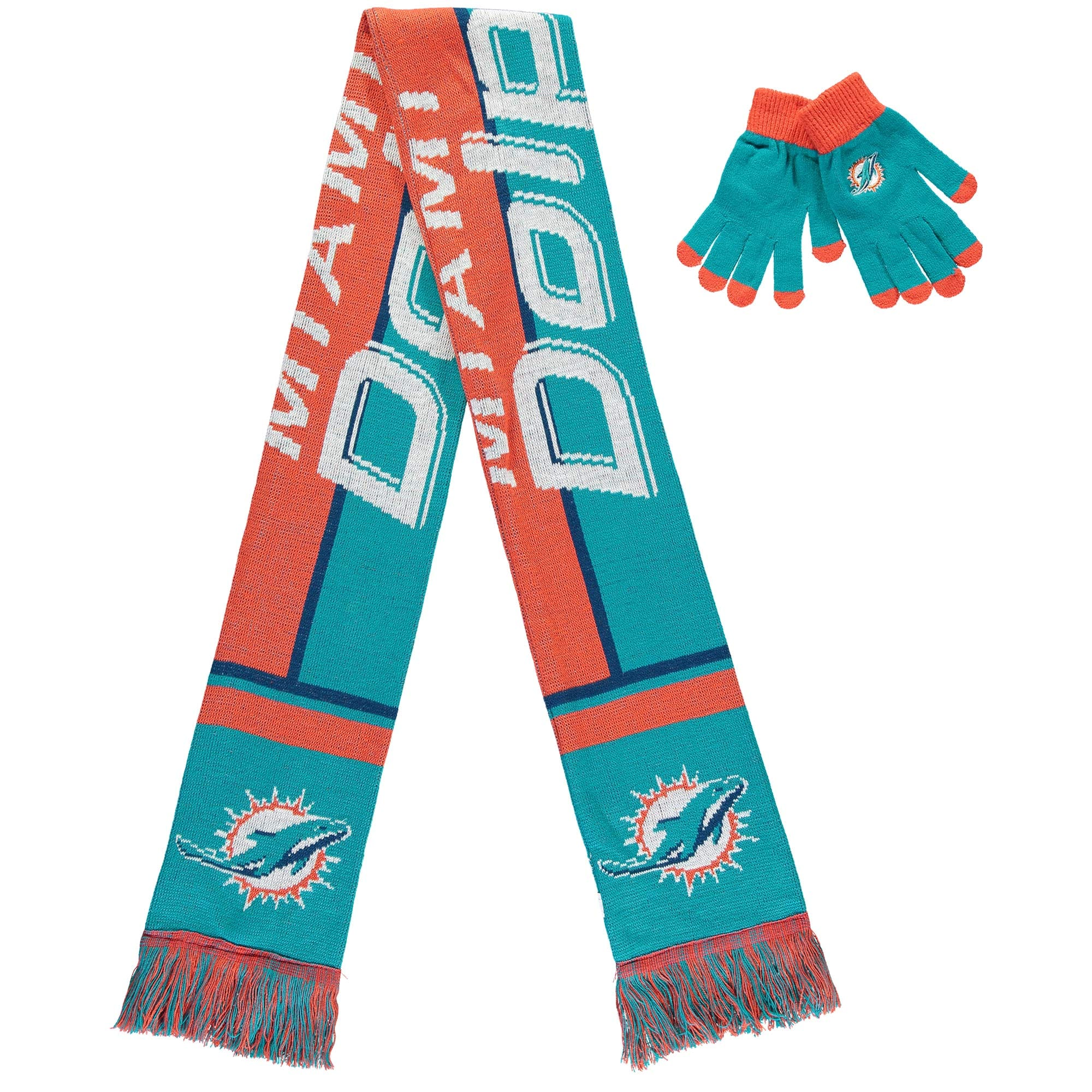 Miami Dolphins Women's Gloves And Scarf Set