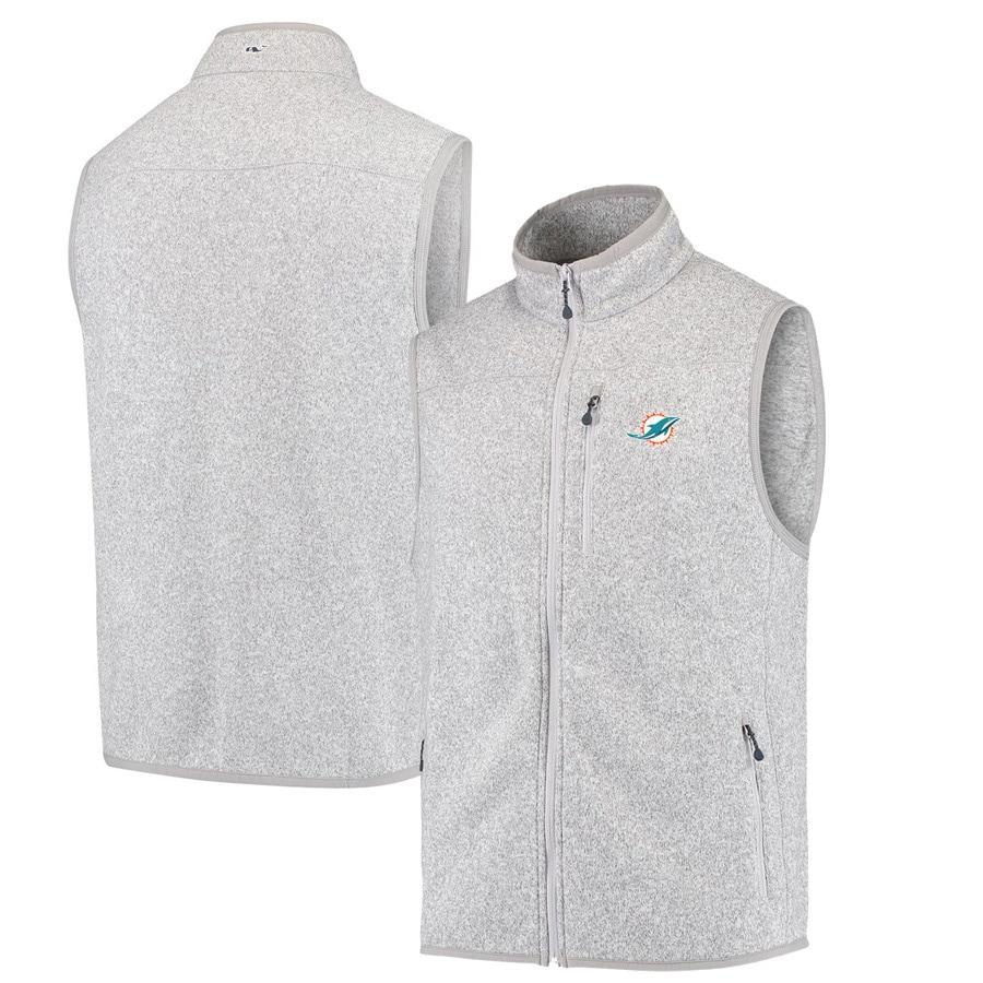 Miami Dolphins Vineyard Vines Fleece Full-Zip Sweater Vest - Heather Gray