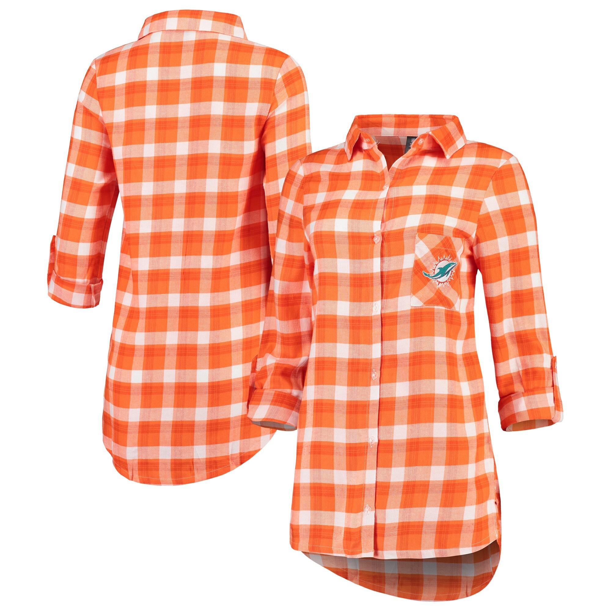 Miami Dolphins Concepts Sport Women's Piedmont Flannel Button-Up Long Sleeve Shirt - Orange/White