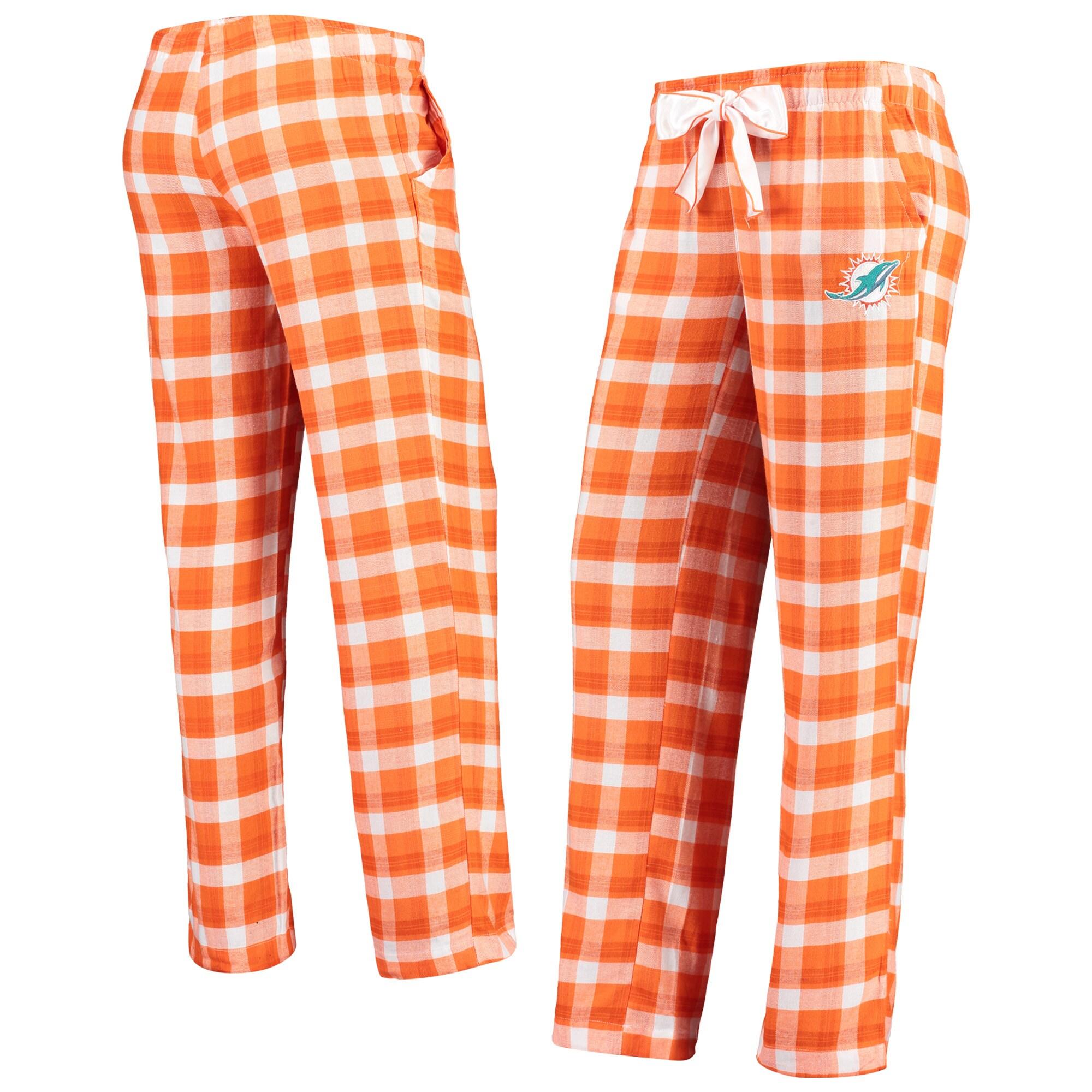 Miami Dolphins Concepts Sport Women's Piedmont Flannel Sleep Pants - Orange/White
