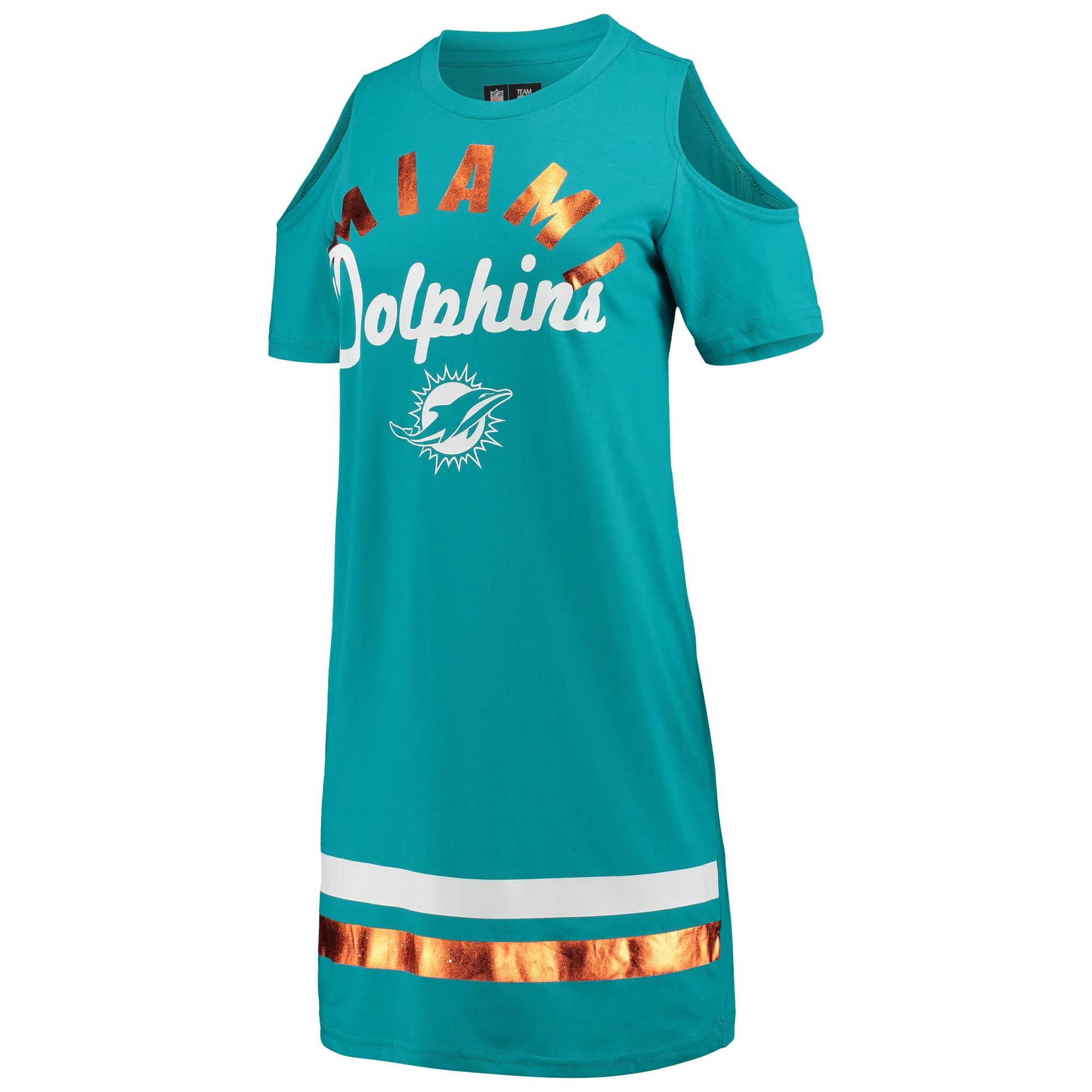 Miami Dolphins G-III 4Her by Carl Banks Women's Go Get Em Tri-Blend Cold Shoulder Mini-Dress - Aqua