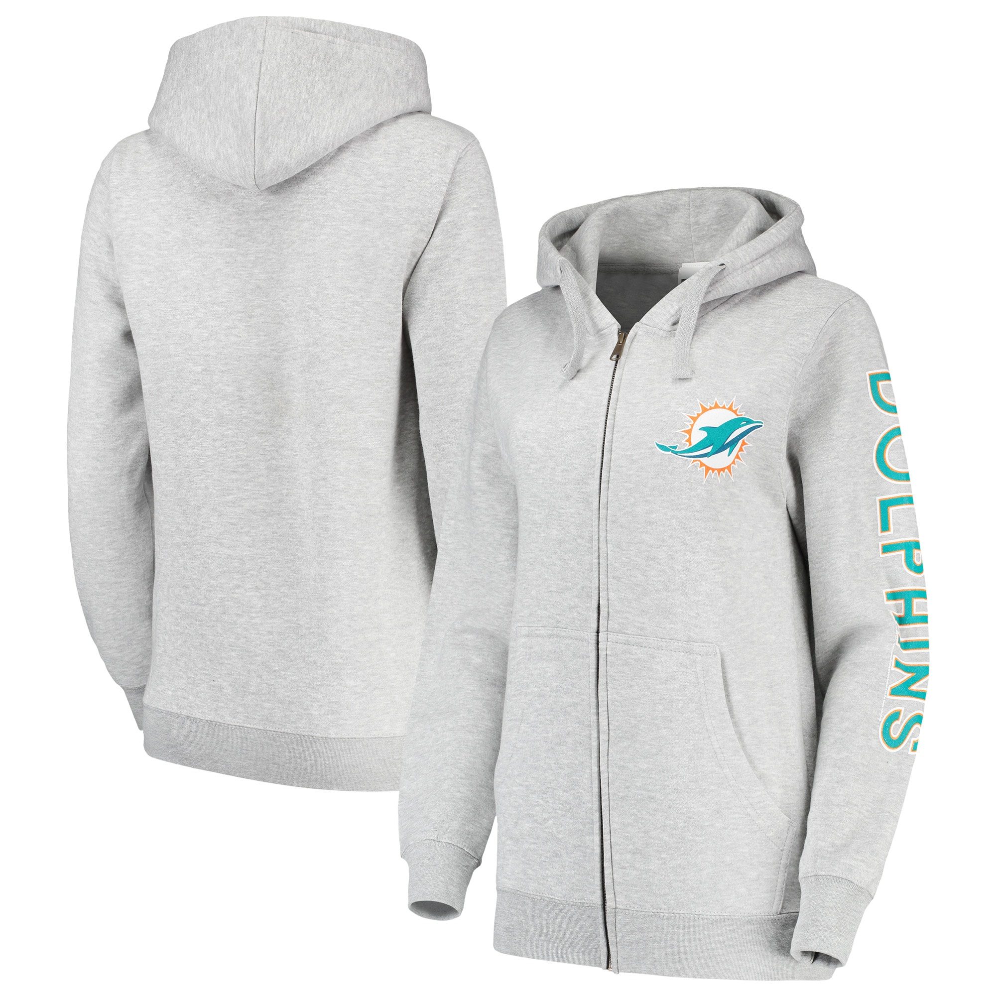 Miami Dolphins Women's Extra Point Two-Hit Full-Zip Hoodie - Gray