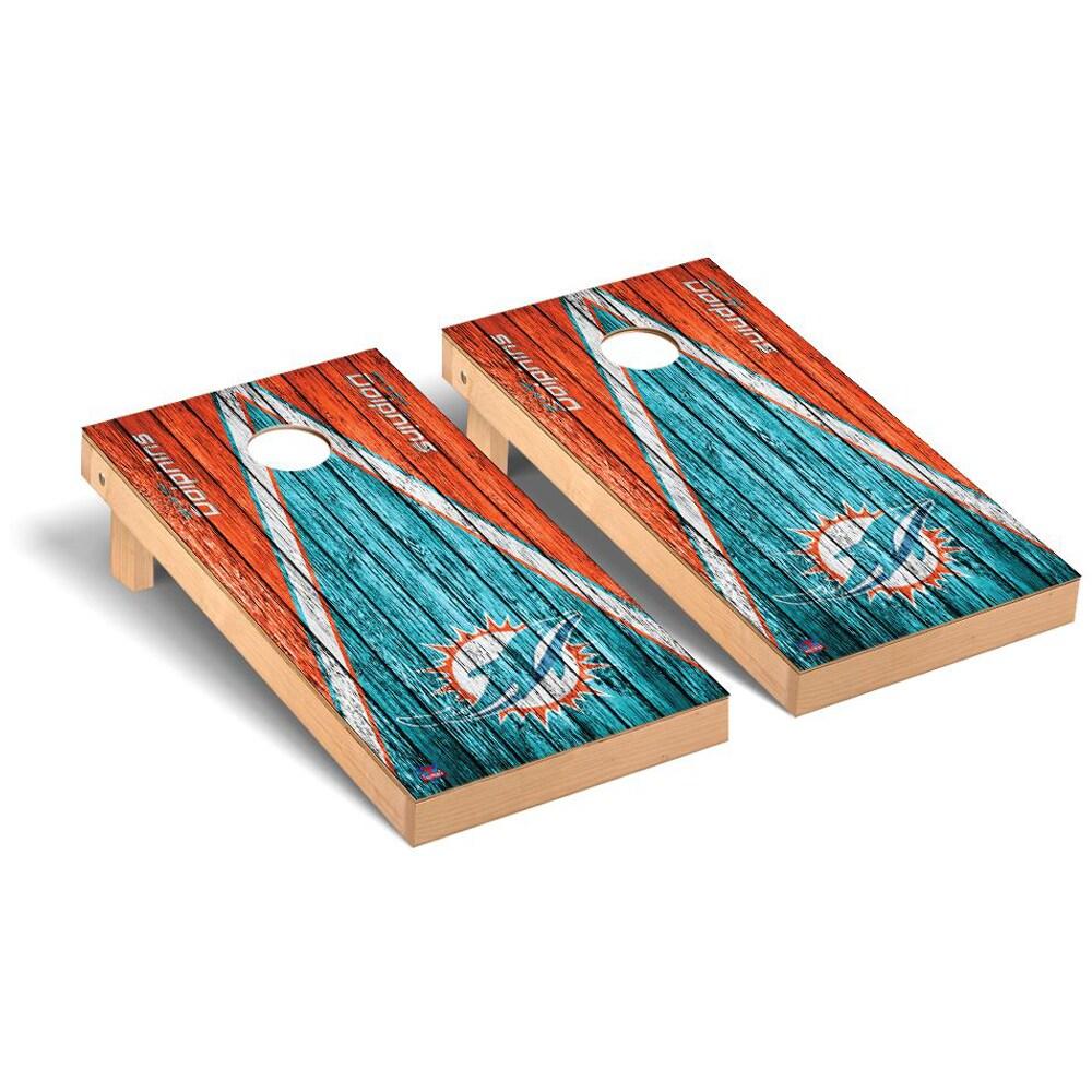 Miami Dolphins 2' x 4' Triangle Weathered Regulation Cornhole Board Tailgate Toss Set