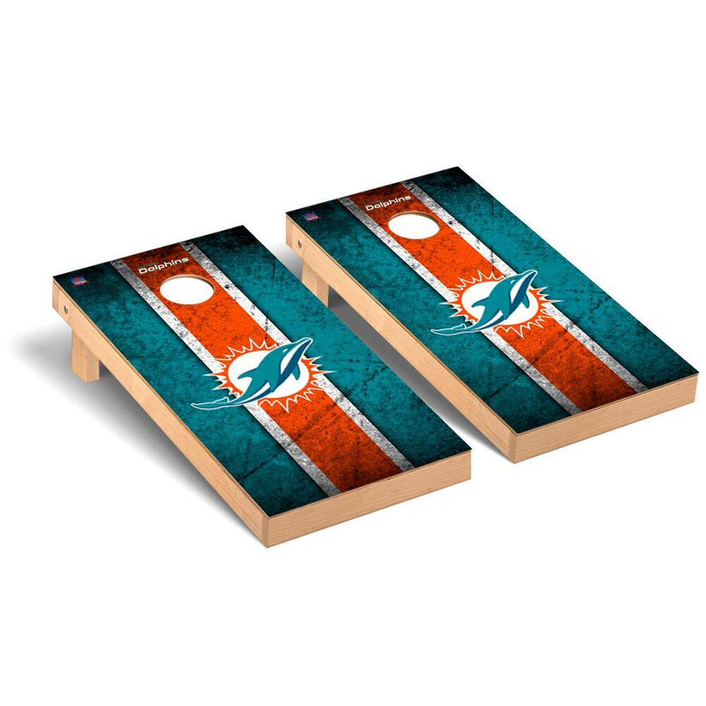 Miami Dolphins 2' x 4' Vintage Regulation Cornhole Board Tailgate Toss Set