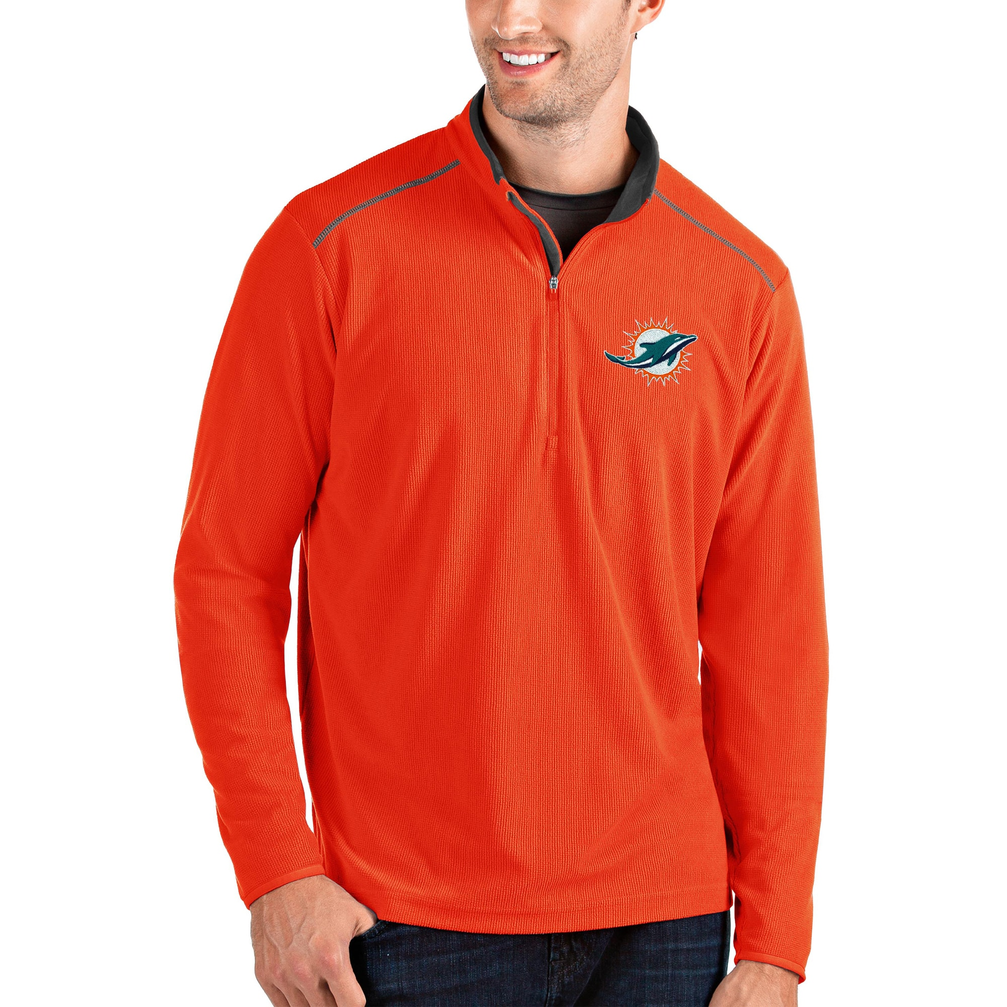 Miami Dolphins Antigua Glacier Quarter-Zip Pullover Jacket - Orange/Gray