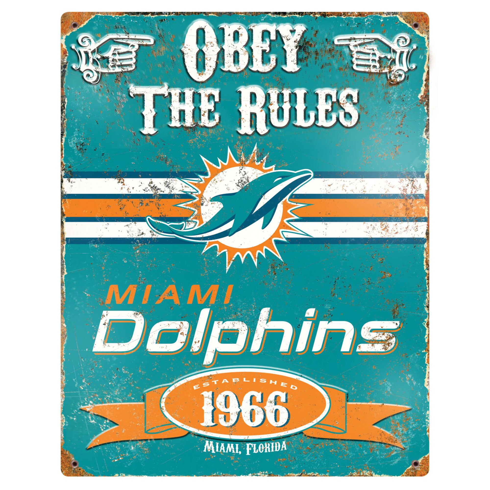 Miami Dolphins 14.5'' x 11.5'' Embossed Metal Sign