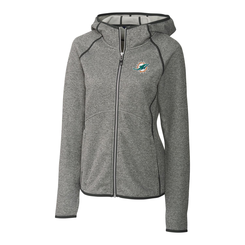 Miami Dolphins Cutter & Buck Women's Mainsail Full-Zip Jacket - Gray