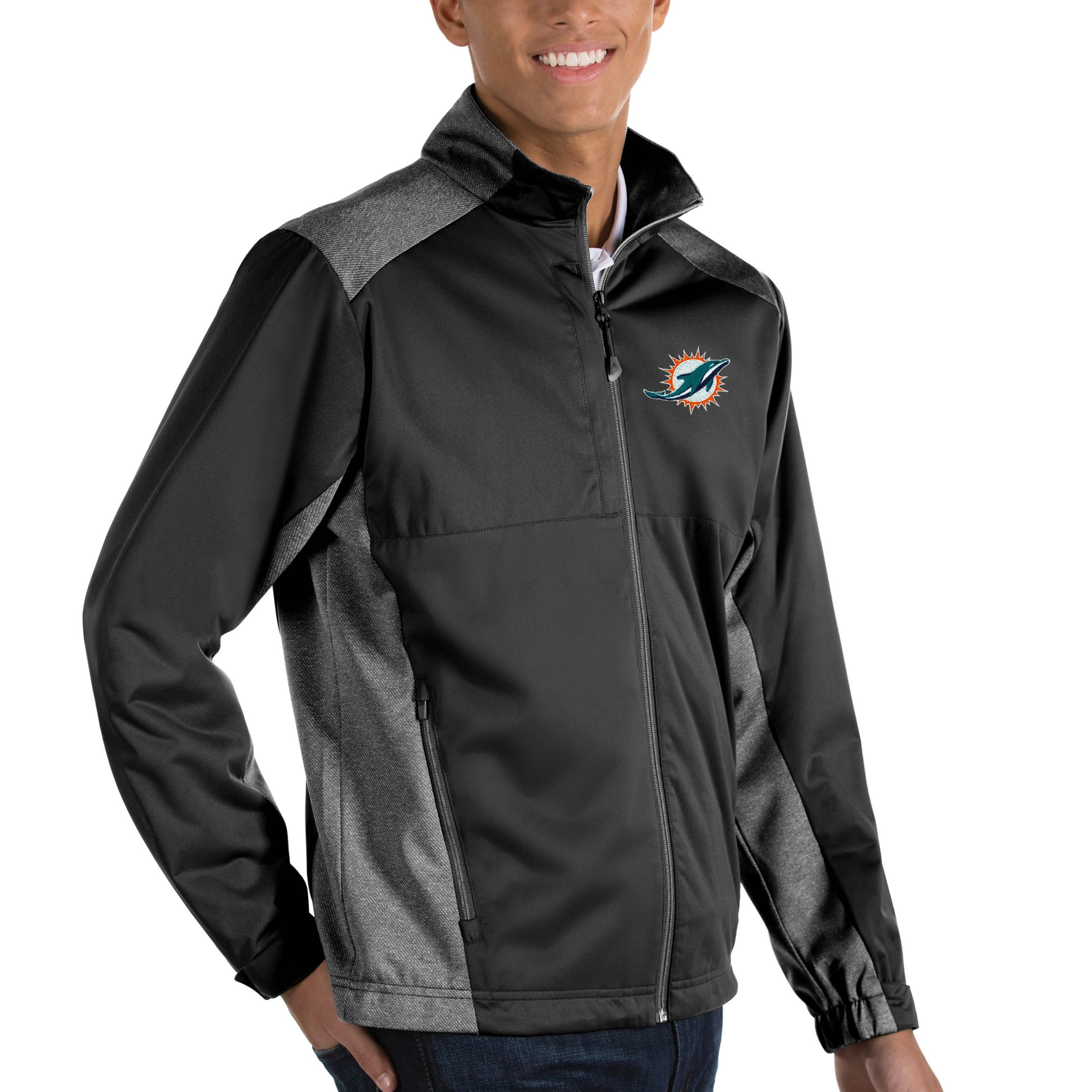Miami Dolphins Antigua Revolve Big & Tall Full-Zip Jacket - Heather Black