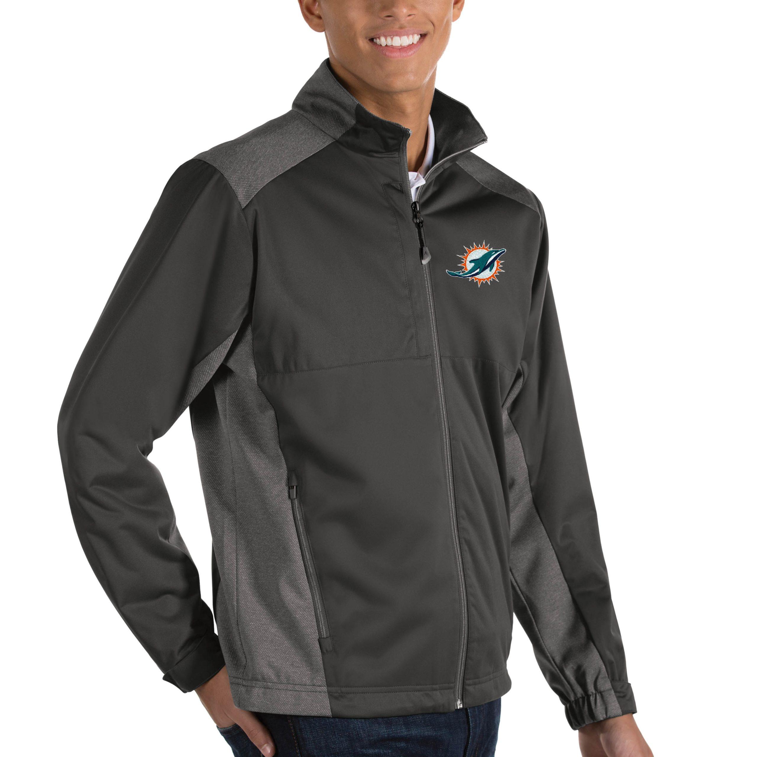Miami Dolphins Antigua Revolve Big & Tall Full-Zip Jacket - Heather Charcoal